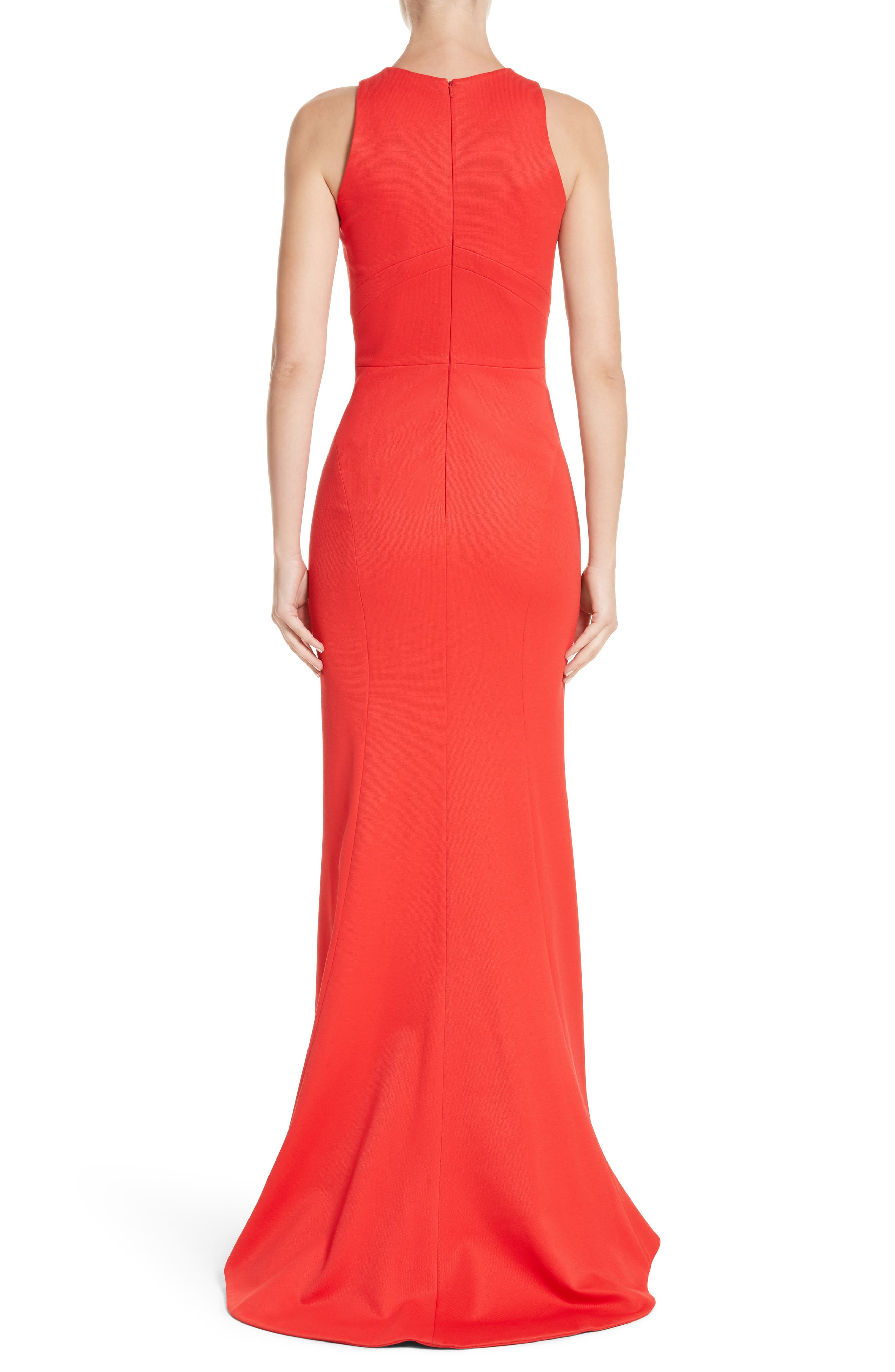Structured Knit Trumpet Gown,                             Alternate thumbnail 2, color,                             Coral