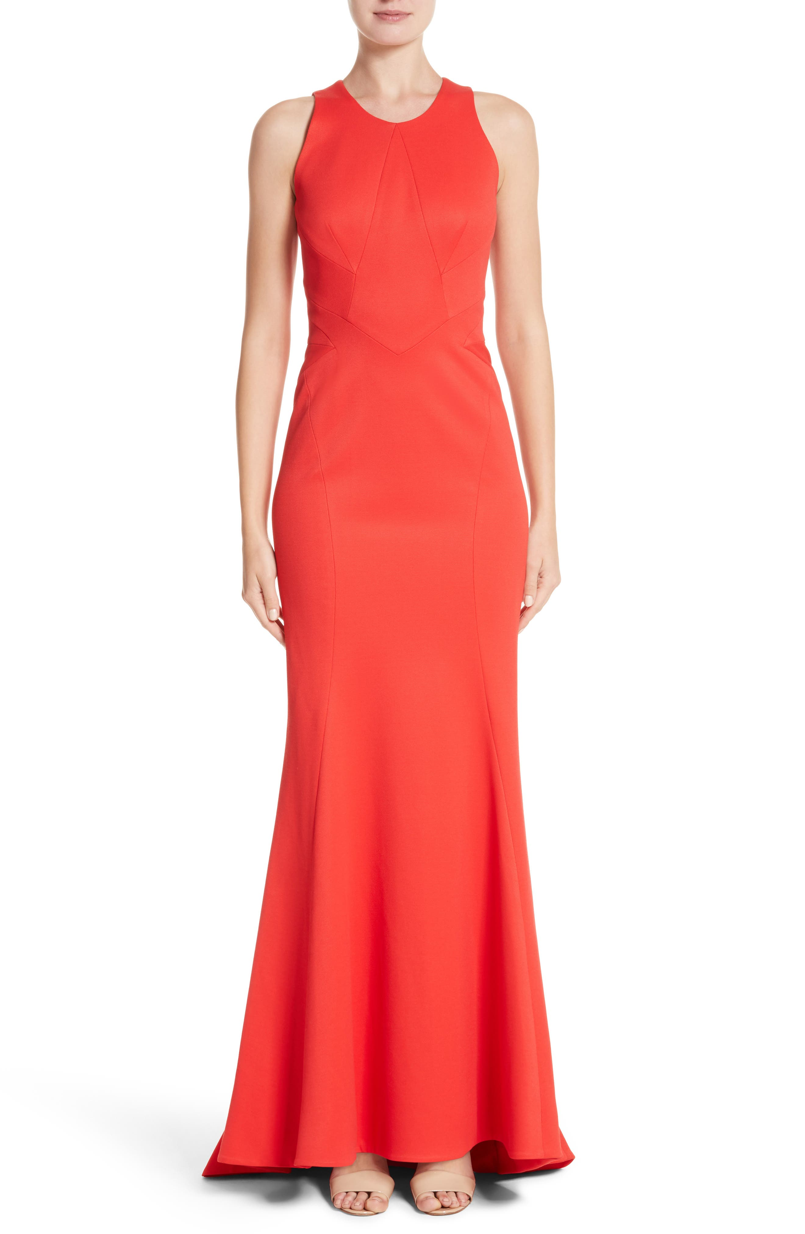 Structured Knit Trumpet Gown,                         Main,                         color, Coral
