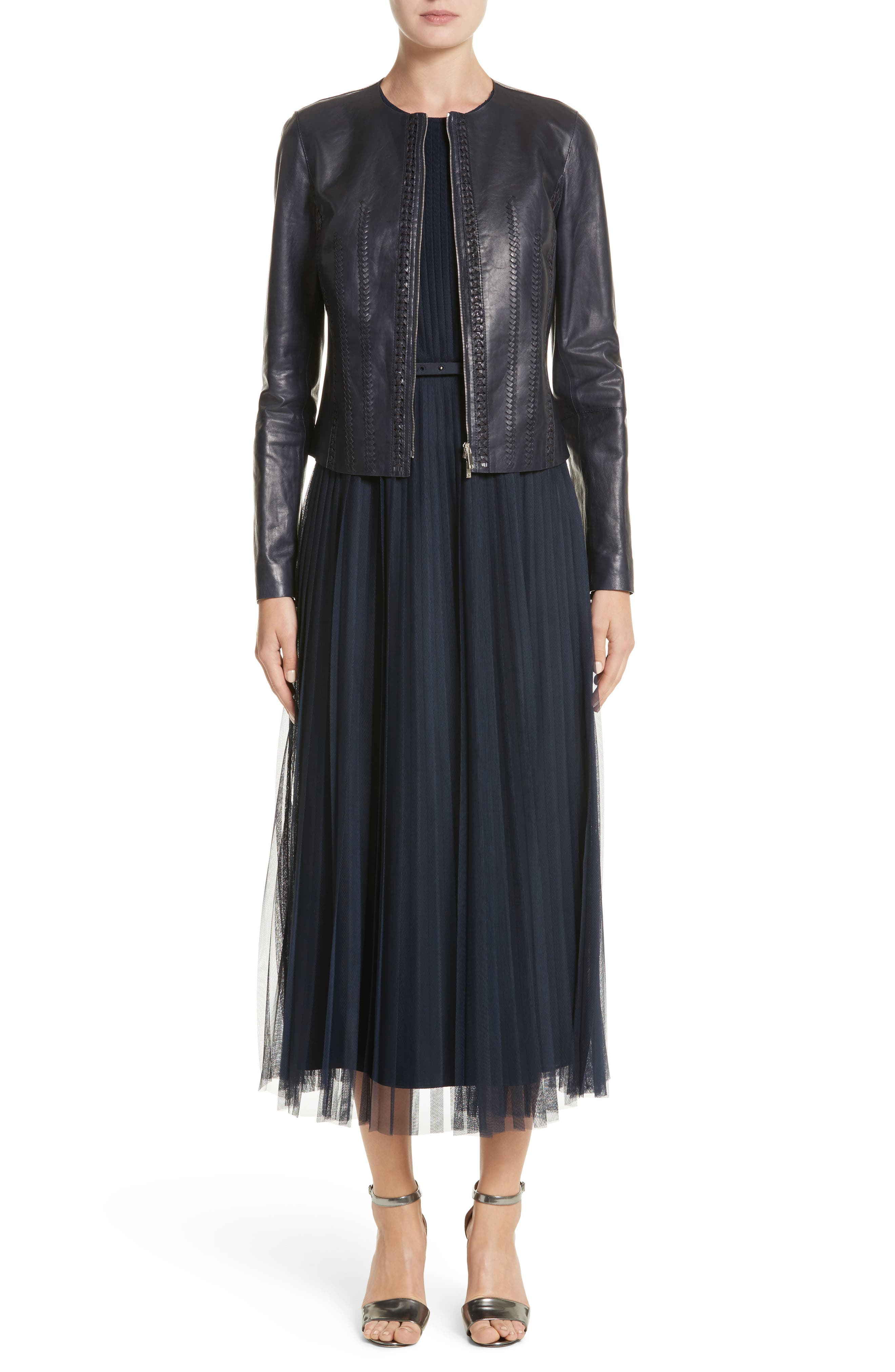 Alternate Image 7  - Lafayette 148 New York Pleated Mesh Dress