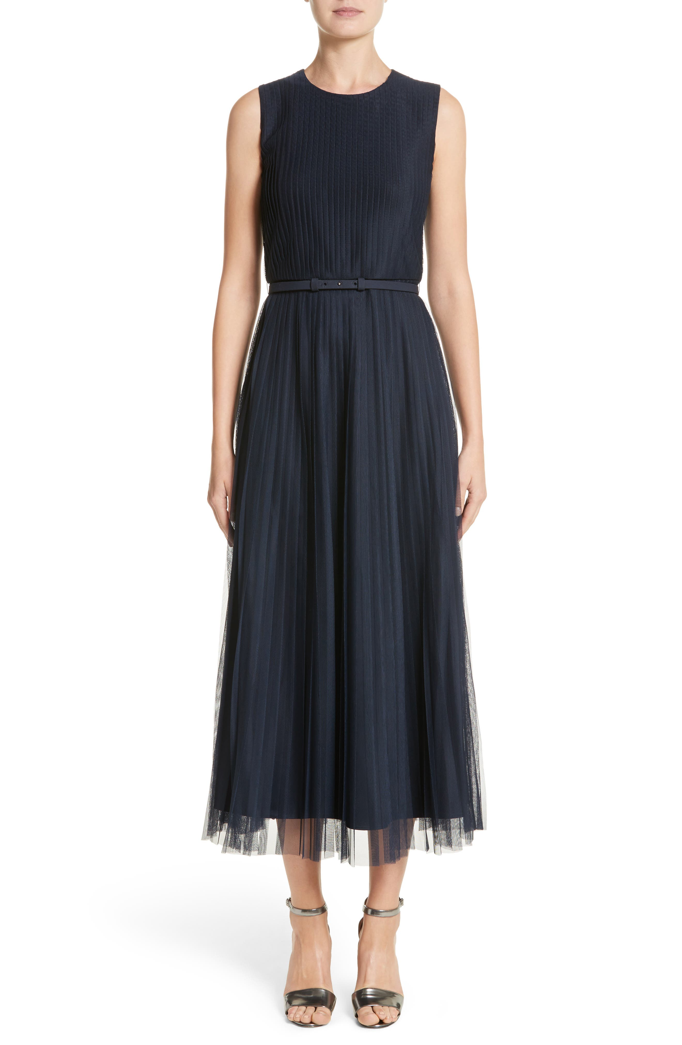 Pleated Mesh Dress,                         Main,                         color, Armada