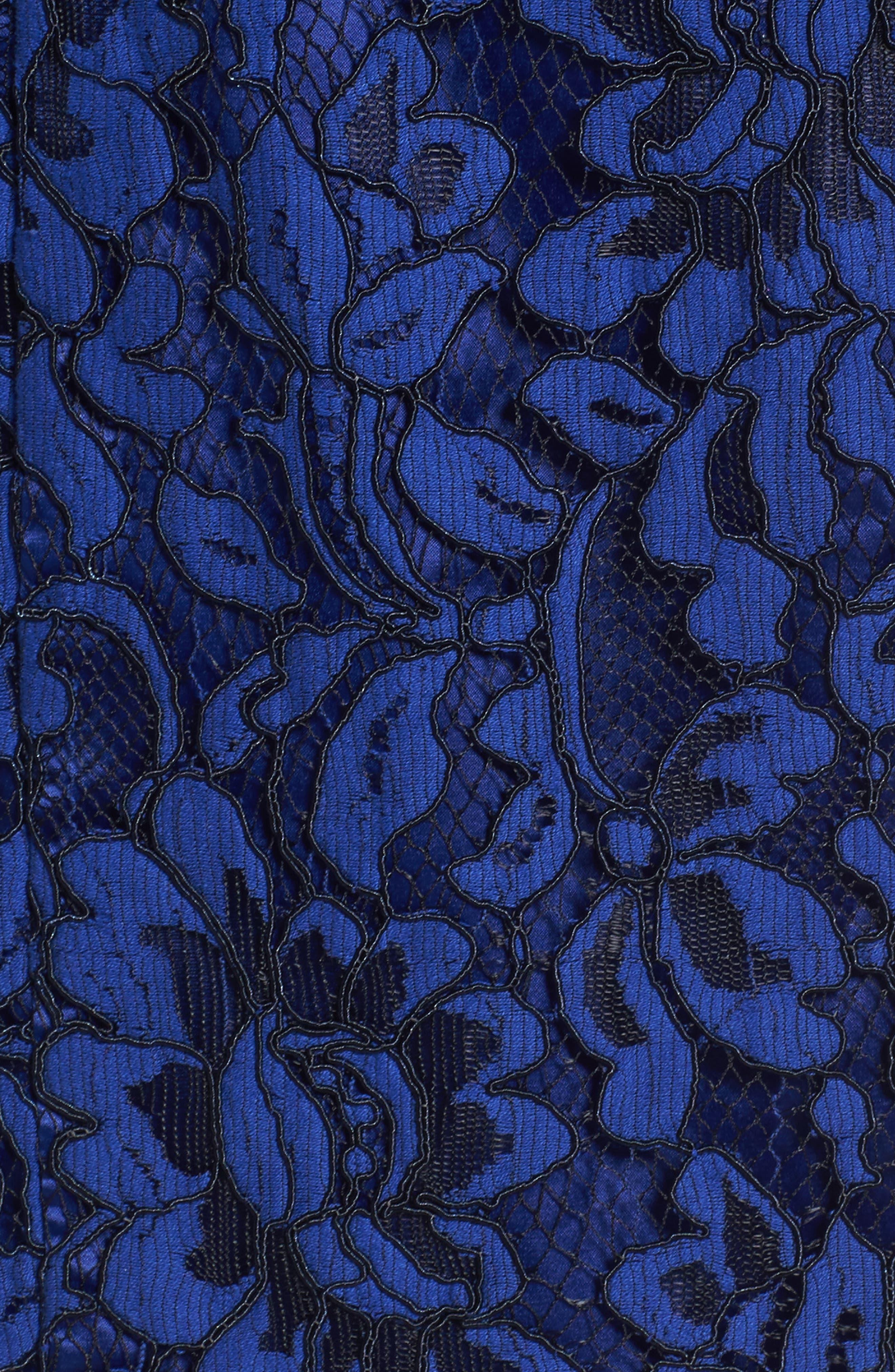 Bell Sleeve Lace Sheath Dress,                             Alternate thumbnail 6, color,                             Cobalt