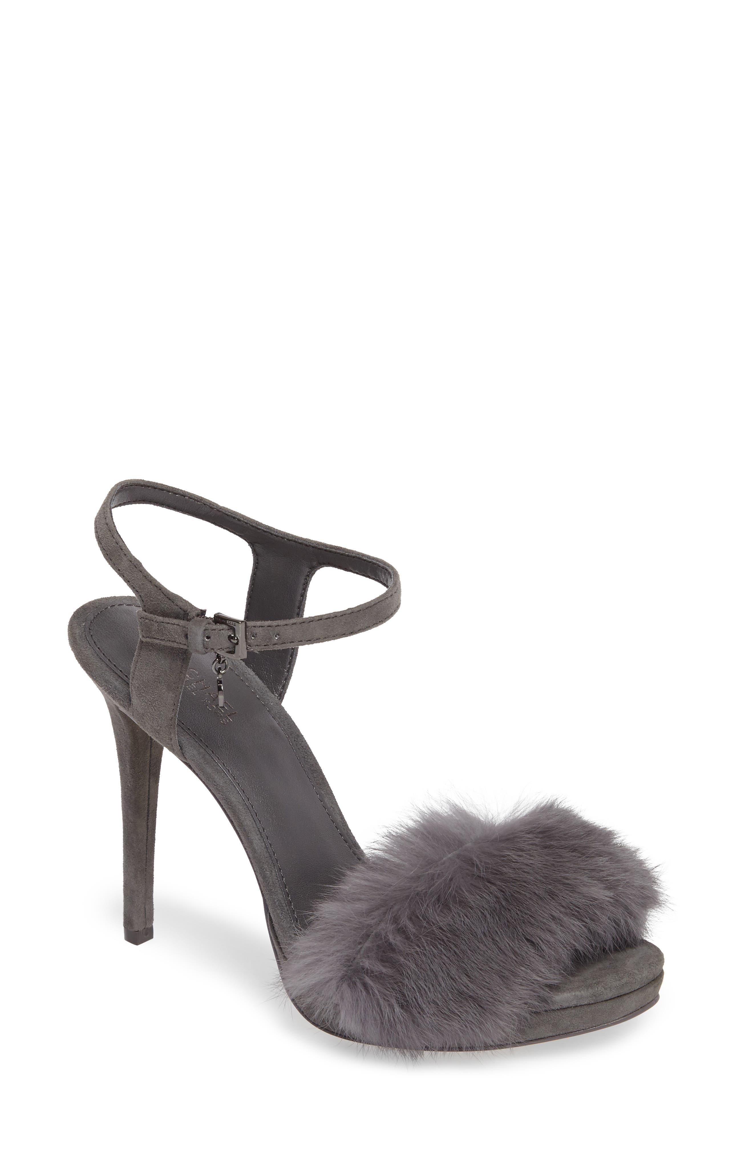 MICHAEL Michael Kors Faye Genuine Rabbit Fur Sandal (Women)