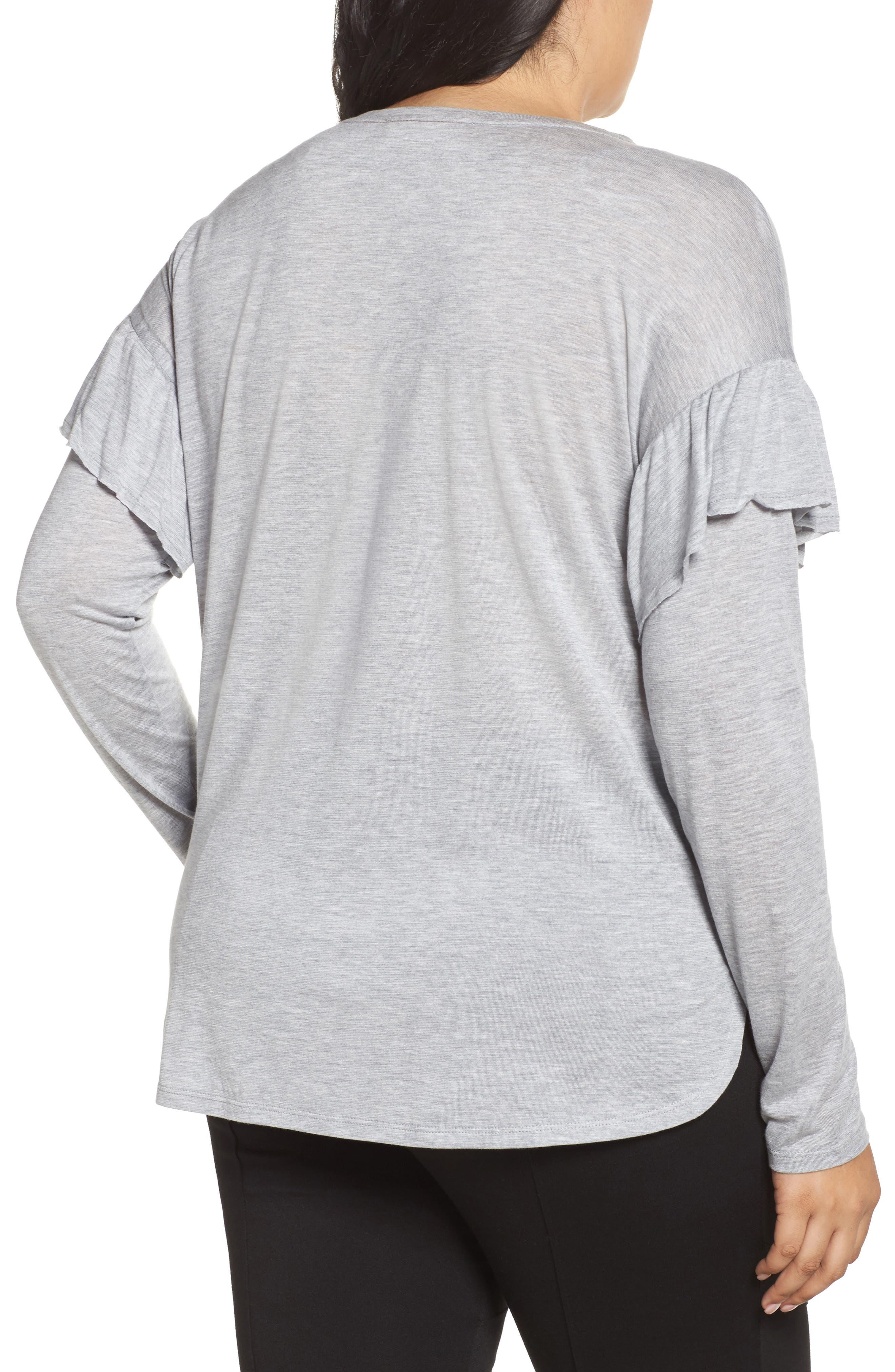 Long Sleeve Ruffle Shoulder Top,                             Alternate thumbnail 2, color,                             Light Heather Grey