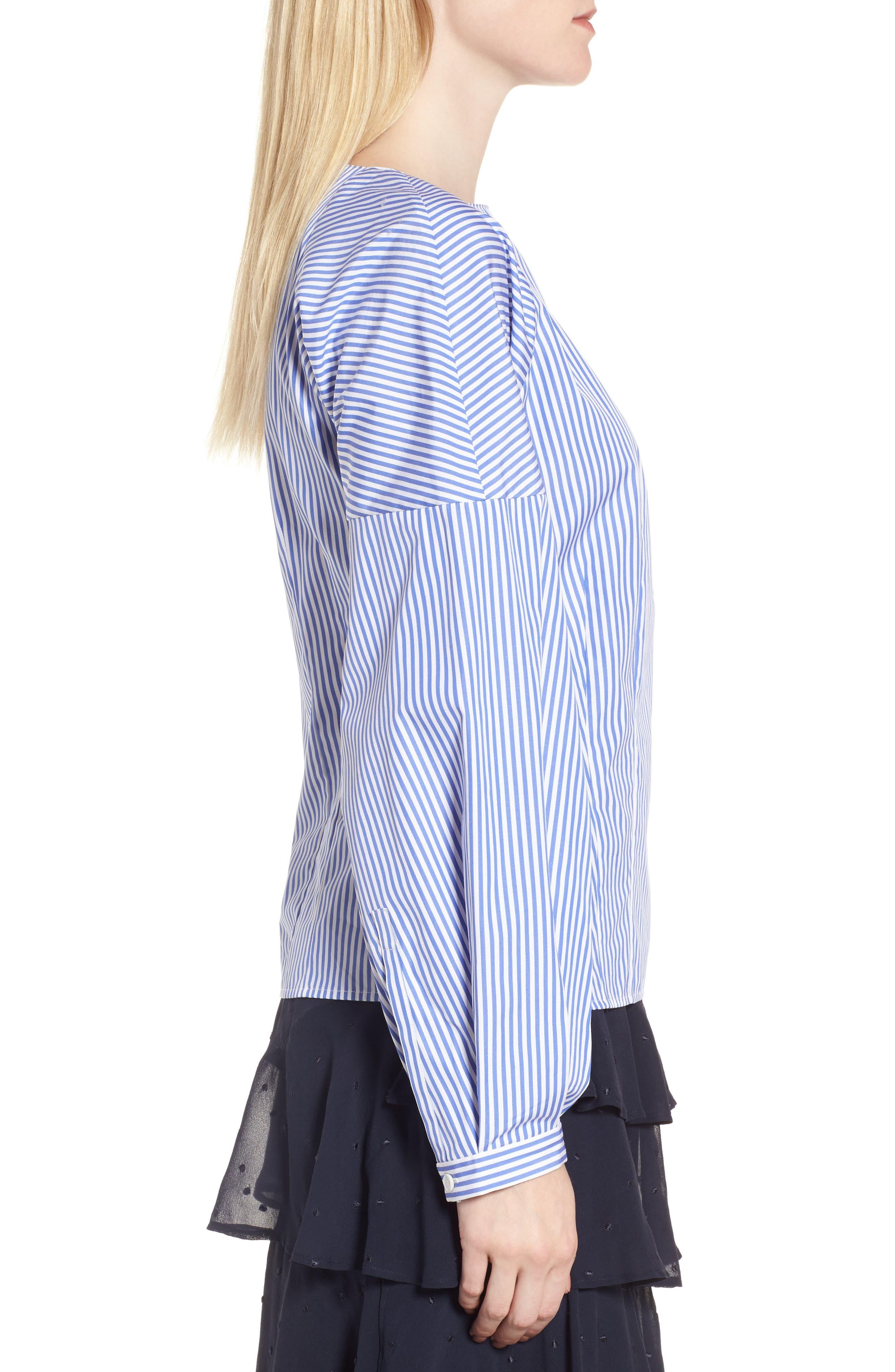 Balloon Sleeve Stripe Shirt,                             Alternate thumbnail 3, color,                             Blue Azurite Vania Stripe