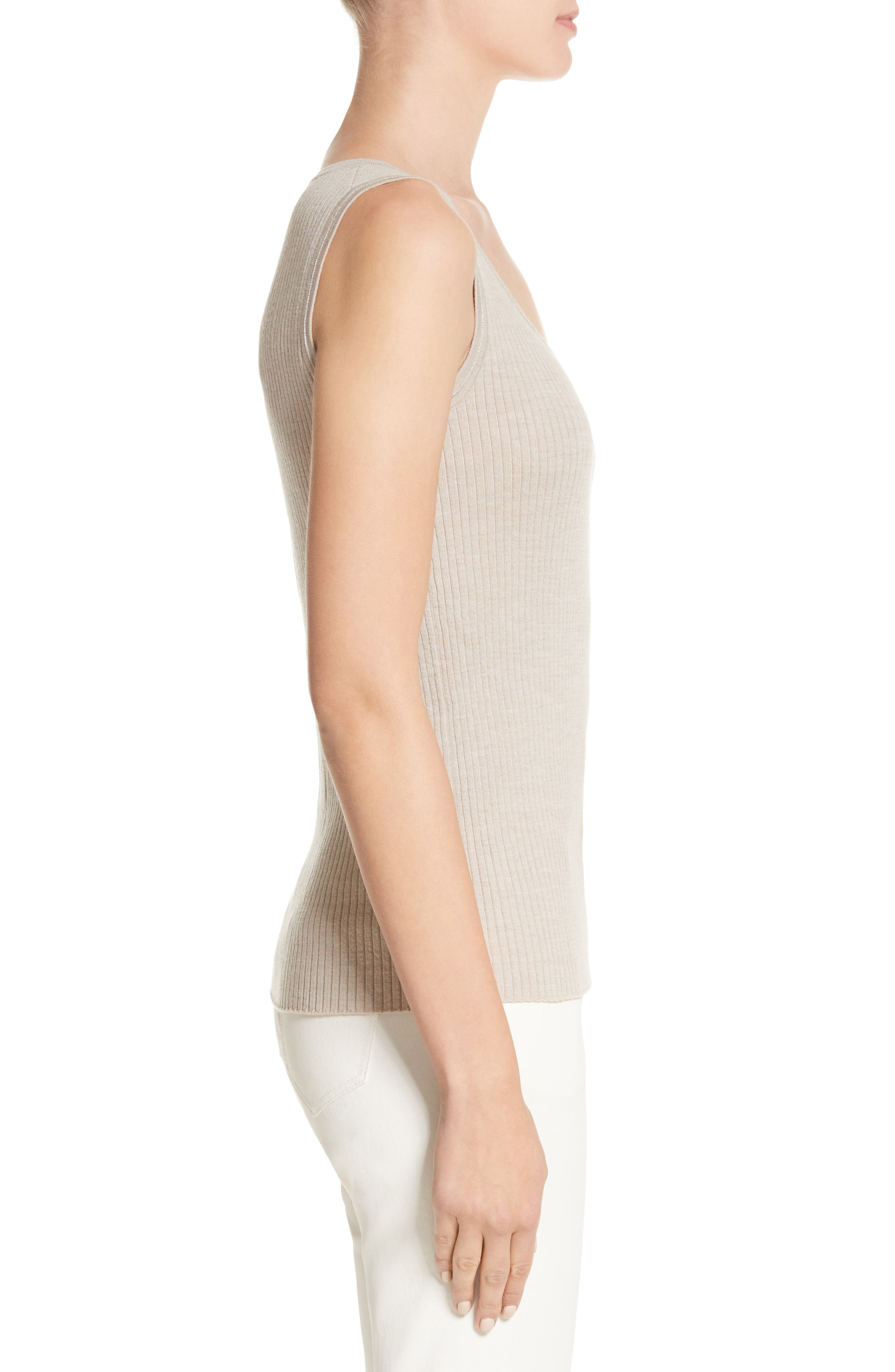 Metallic Trim Modern Ribbed Tank,                             Alternate thumbnail 3, color,                             Luxor Melange