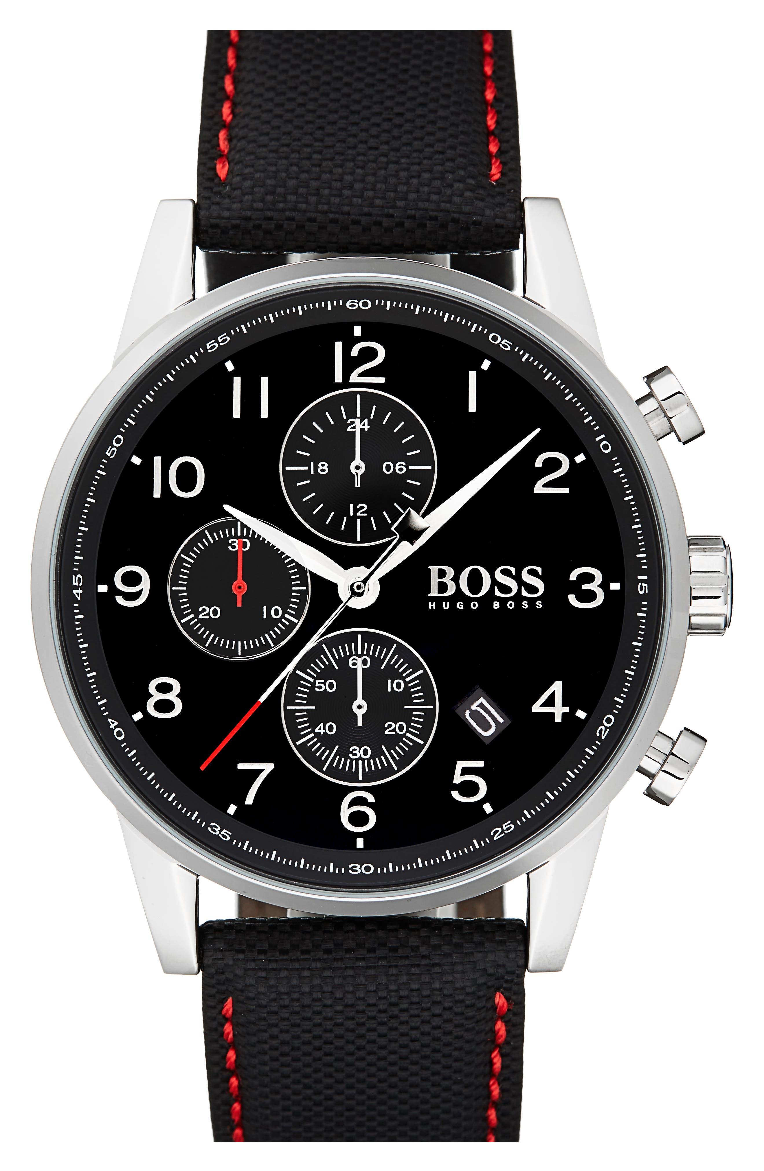 Navigator Chronograph Leather Strap Watch, 44mm,                             Main thumbnail 1, color,                             Black/ Black