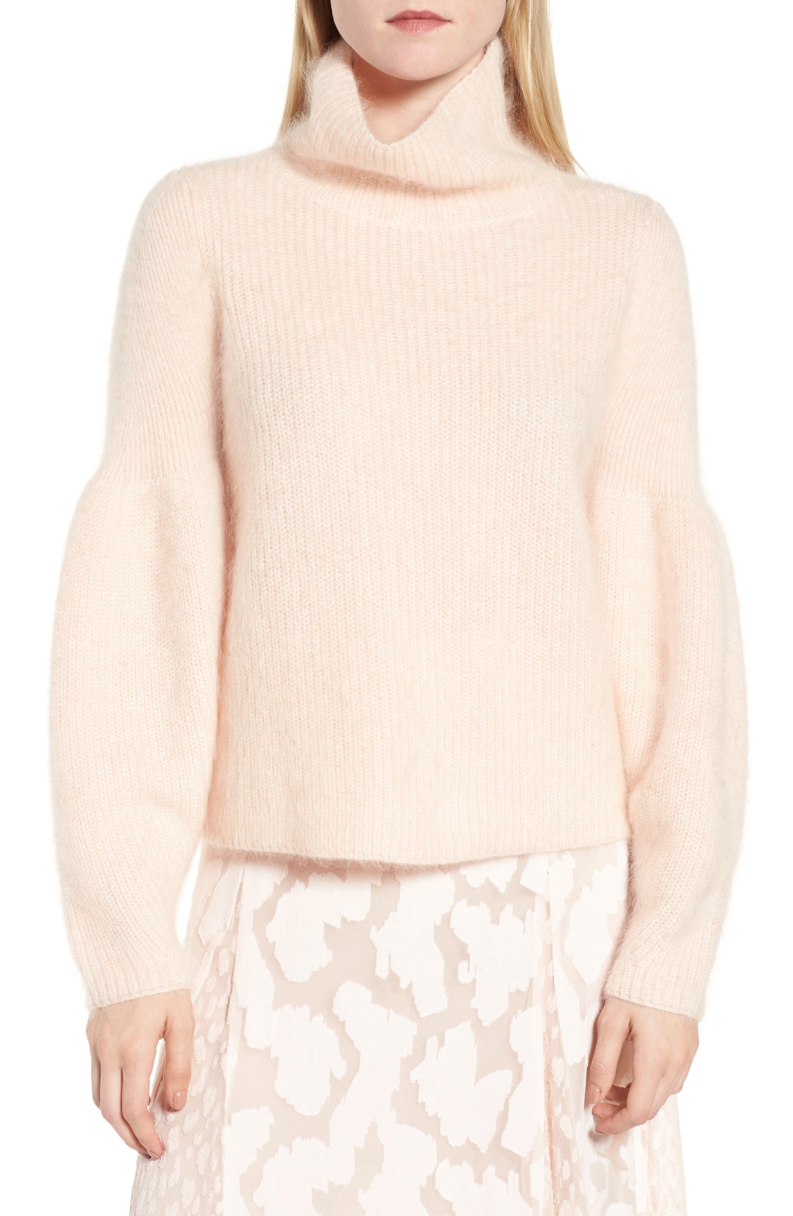 Poet Sleeve Sweater,                             Main thumbnail 1, color,                             Pink Peony Bud