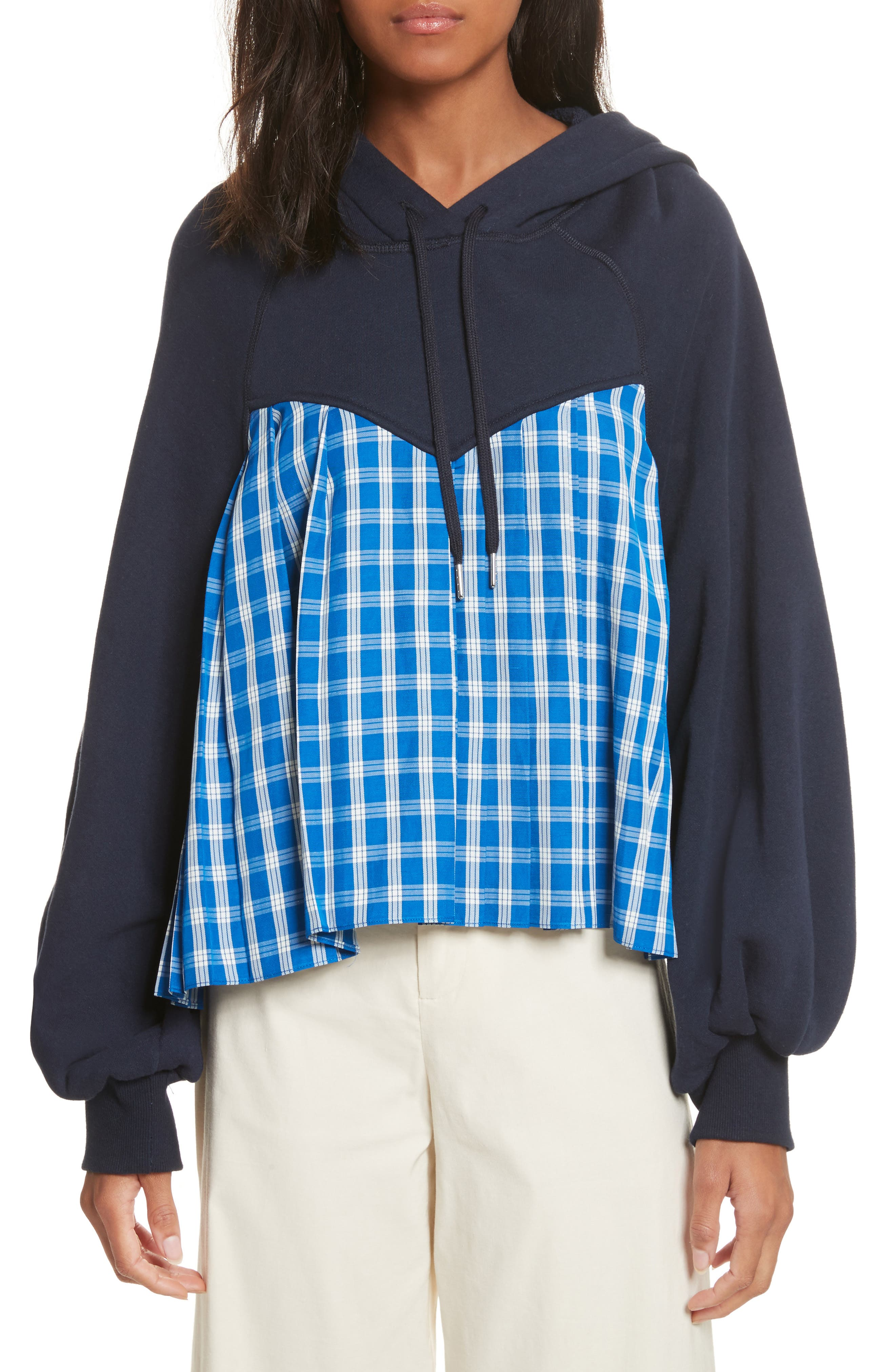 Plaid Balloon Sleeve Combo Hoodie,                         Main,                         color, Navy X Blue Check