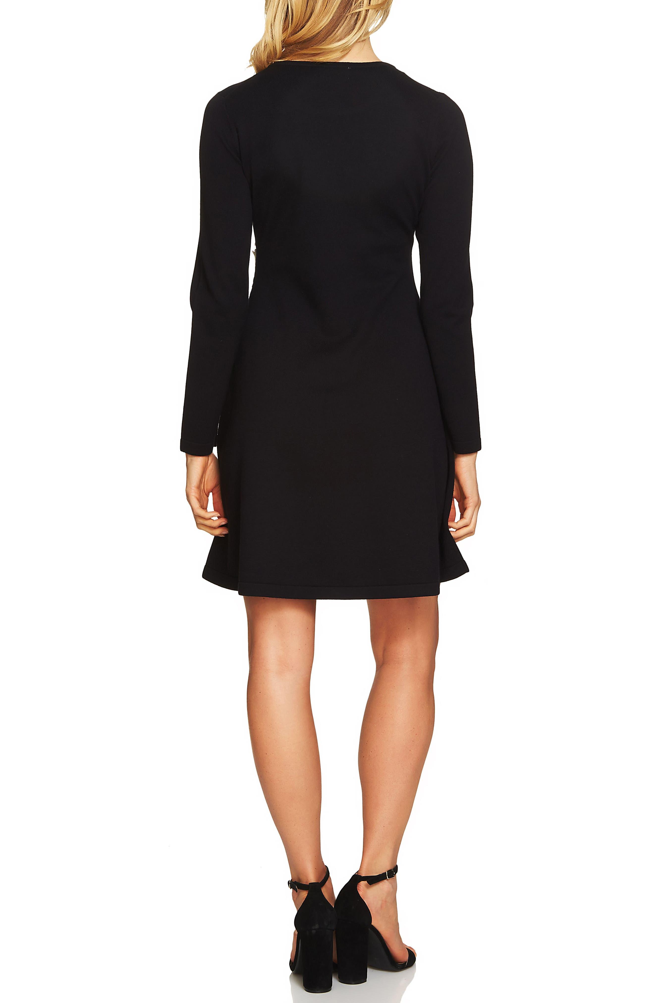 Lace Detail Sweater Dress,                             Alternate thumbnail 2, color,                             Rich Black