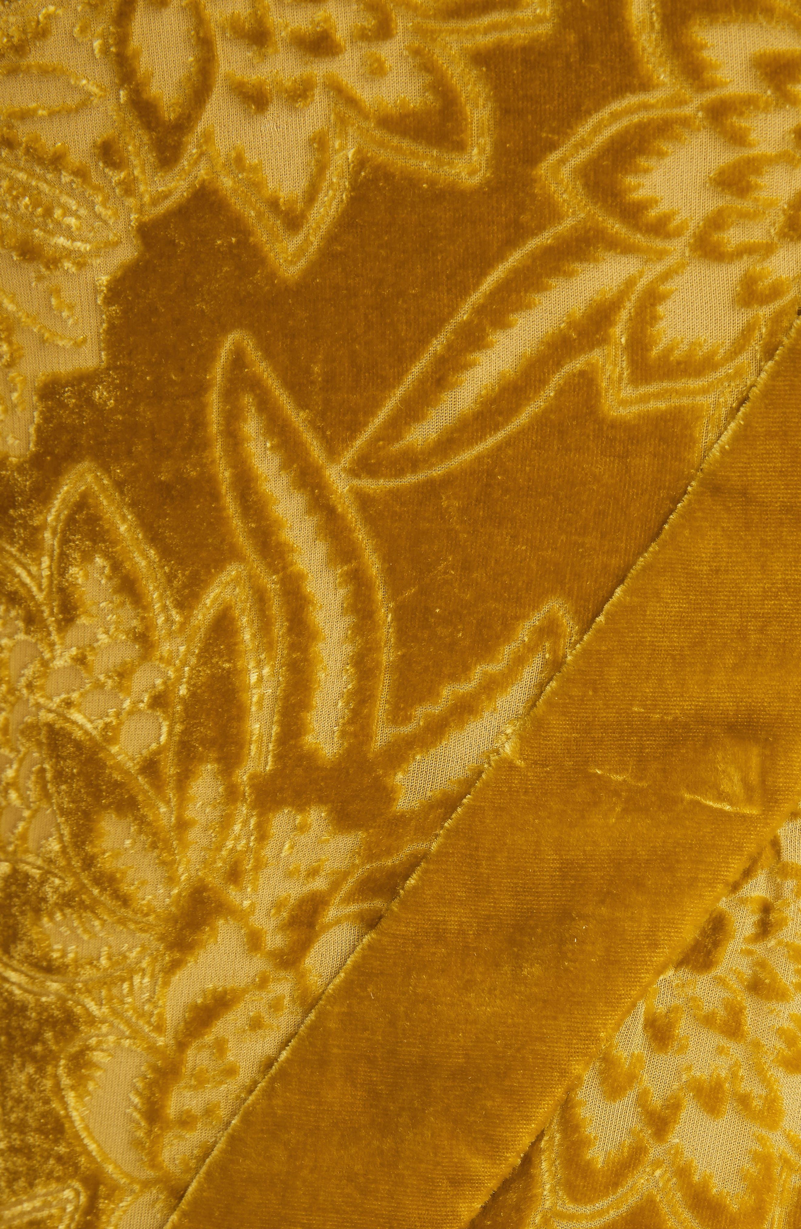 Velvet Devoré Handkerchief Hem Gown,                             Alternate thumbnail 5, color,                             Gold
