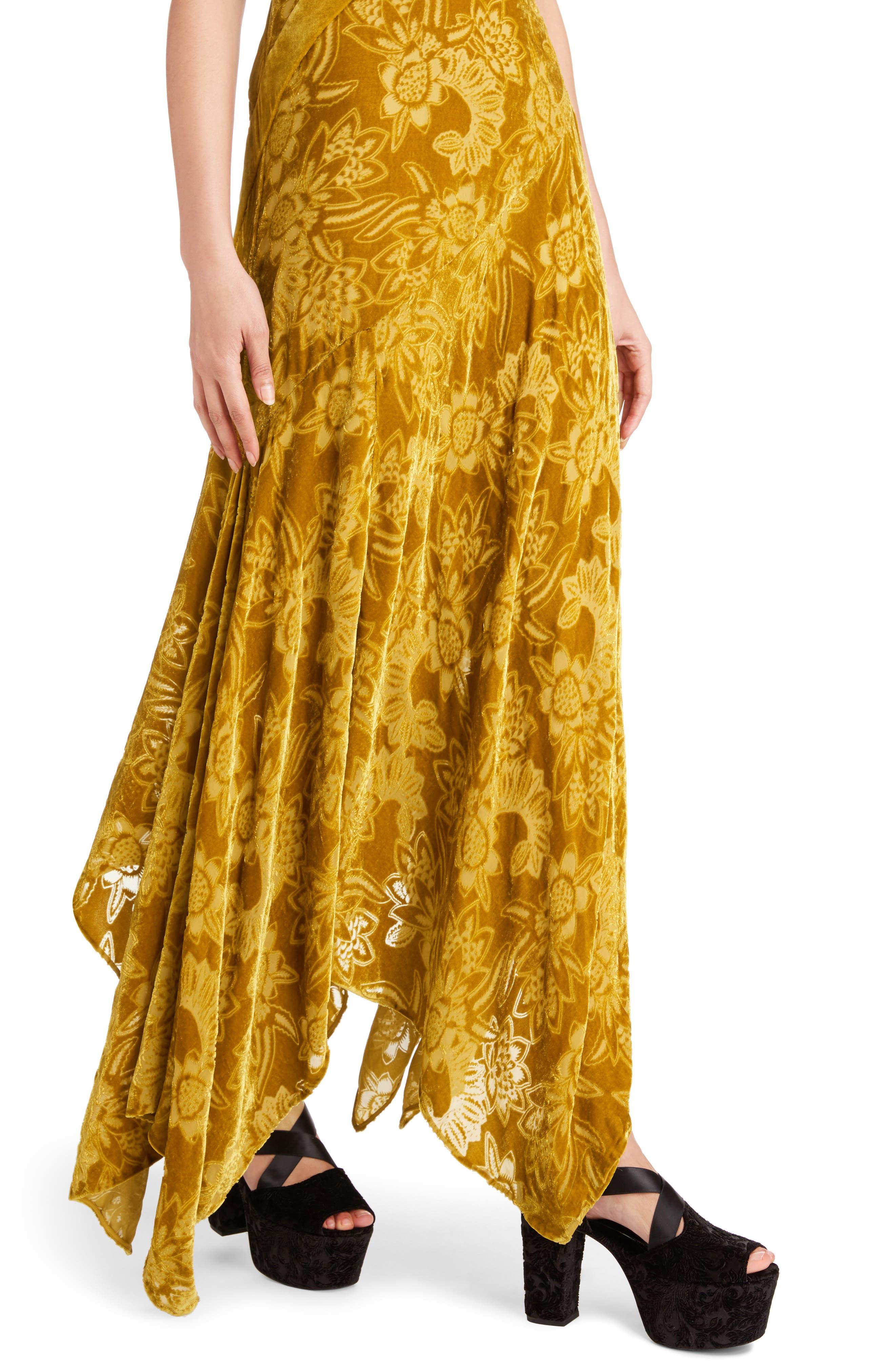 Velvet Devoré Handkerchief Hem Gown,                             Alternate thumbnail 4, color,                             Gold