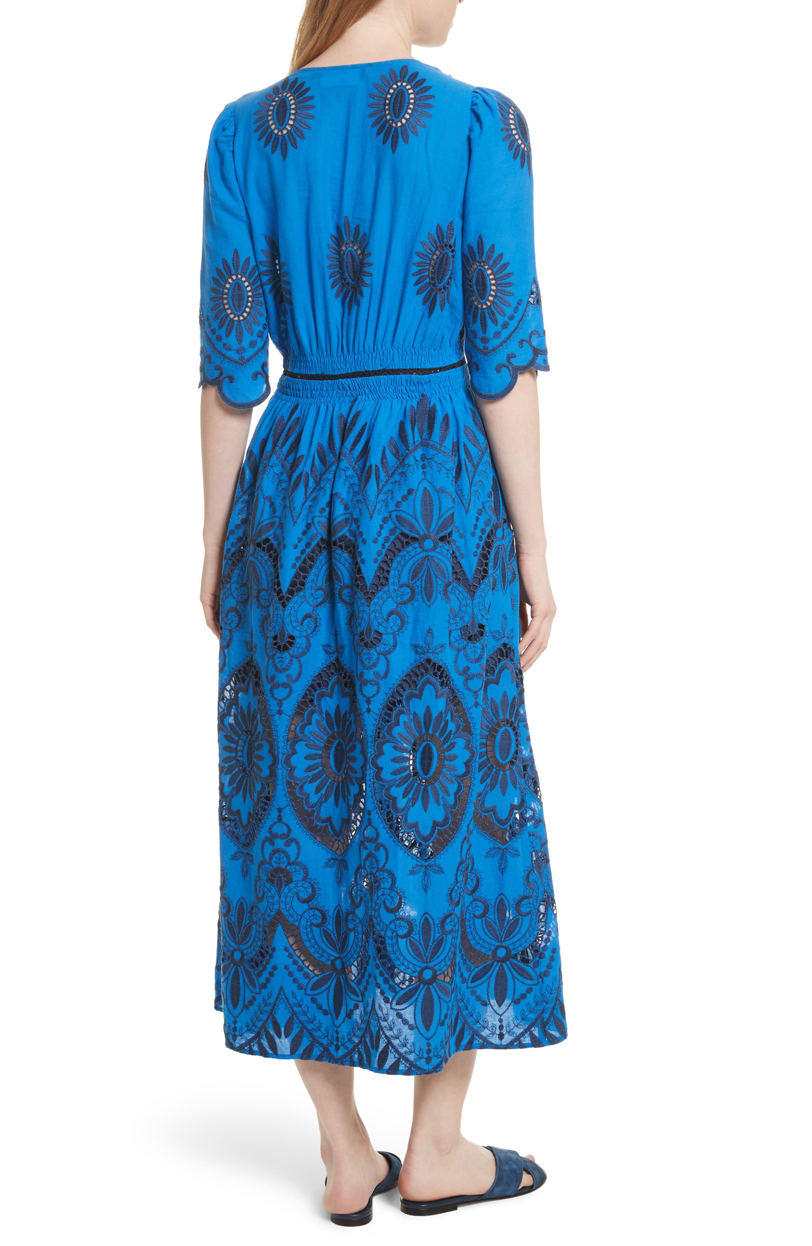 Cotton Eyelet Maxi Dress,                             Alternate thumbnail 2, color,                             Blue/ Navy
