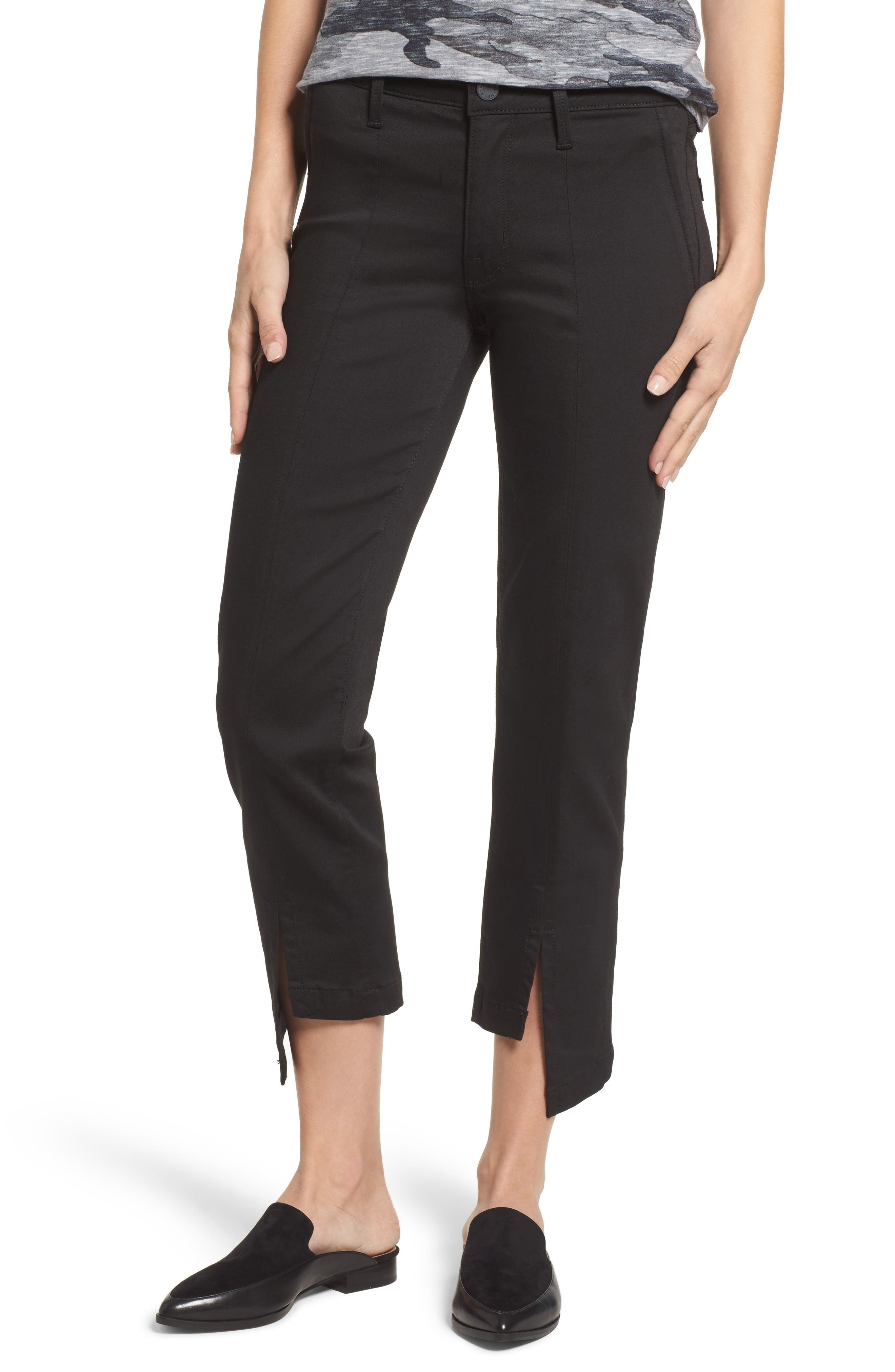 PARKER Novak Slit Hem Trouser Jeans,                             Main thumbnail 1, color,                             Eternal Black