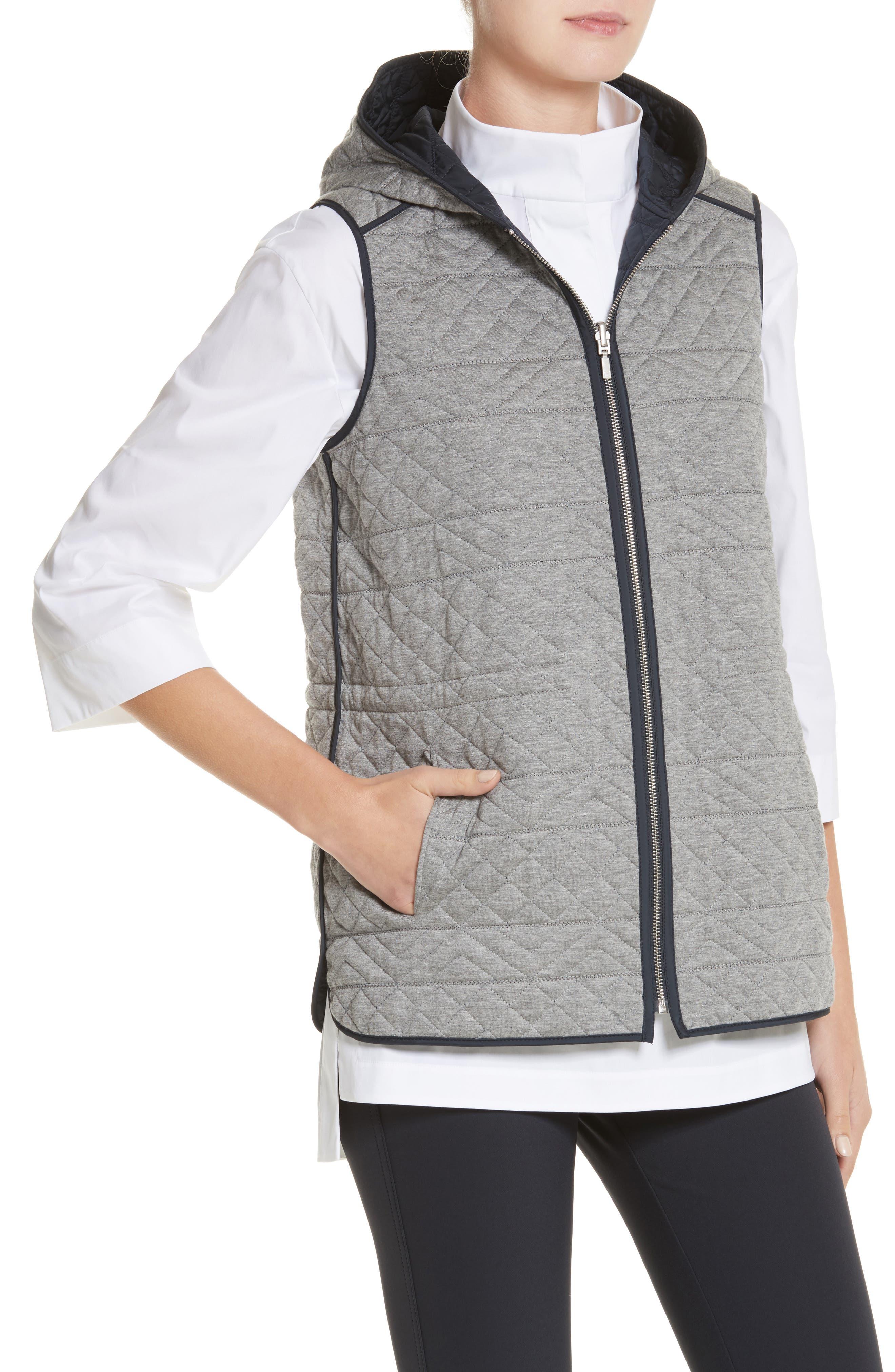 Ginny Reversible Hooded Vest,                             Alternate thumbnail 2, color,                             Ink/ Nickel Melange
