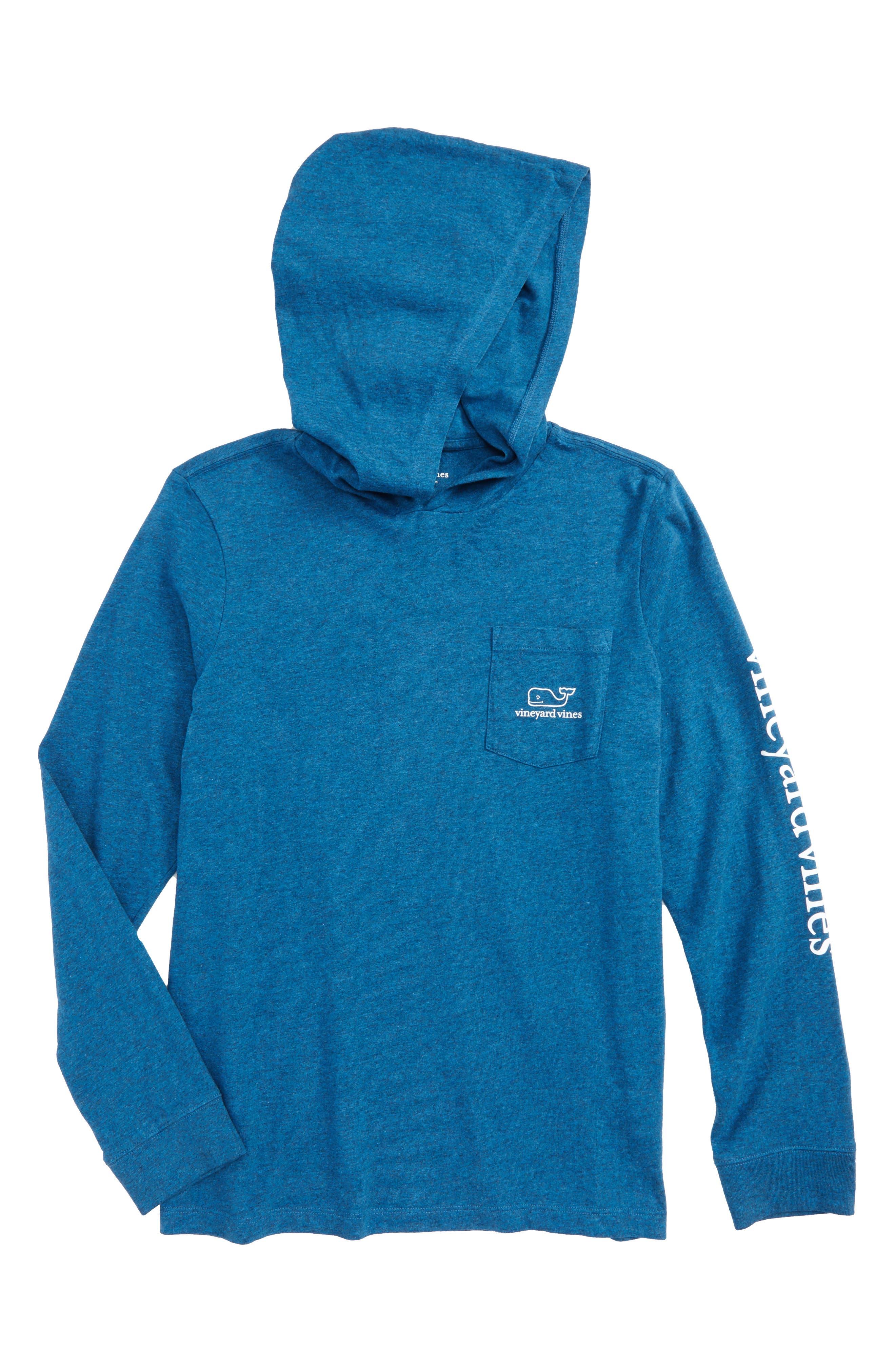 Whale Hooded T-Shirt,                         Main,                         color, Schooner Blue
