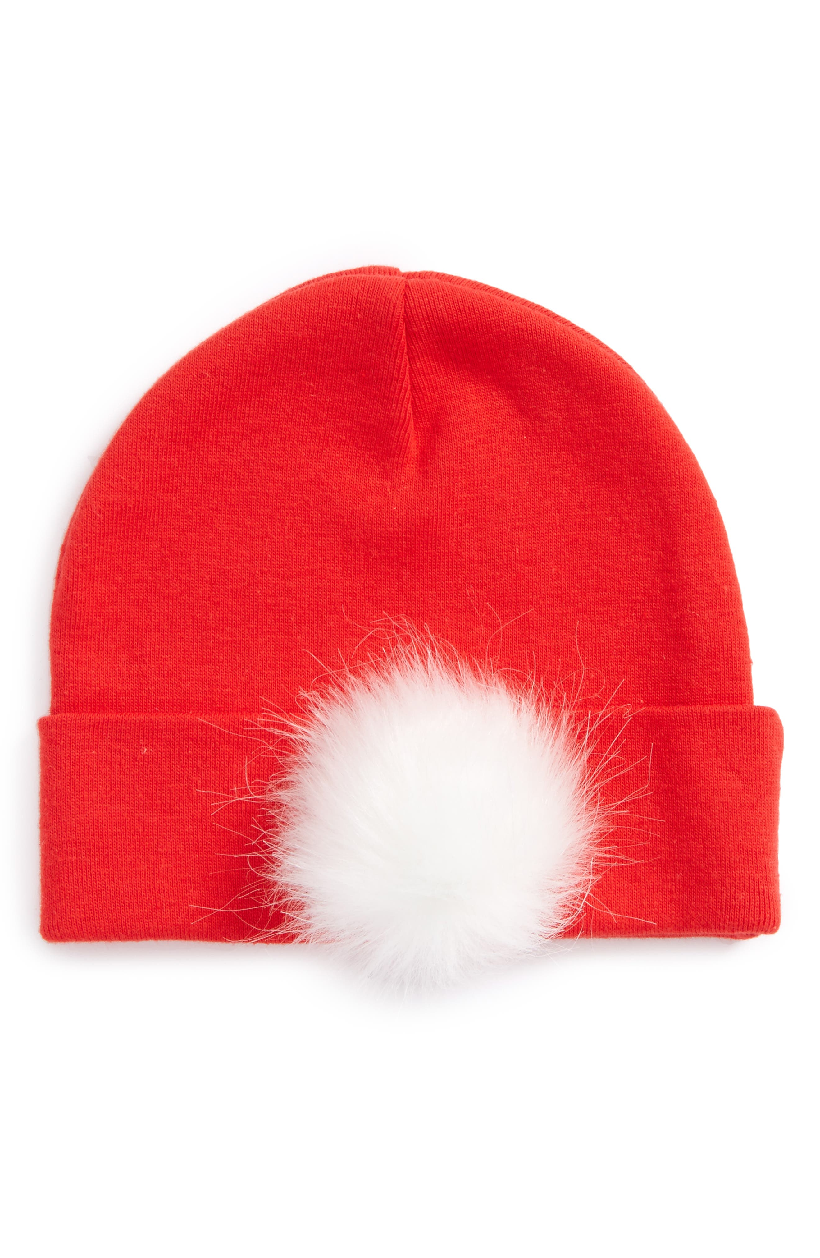 Faux Fur Pompom Hat,                             Main thumbnail 1, color,                             Red
