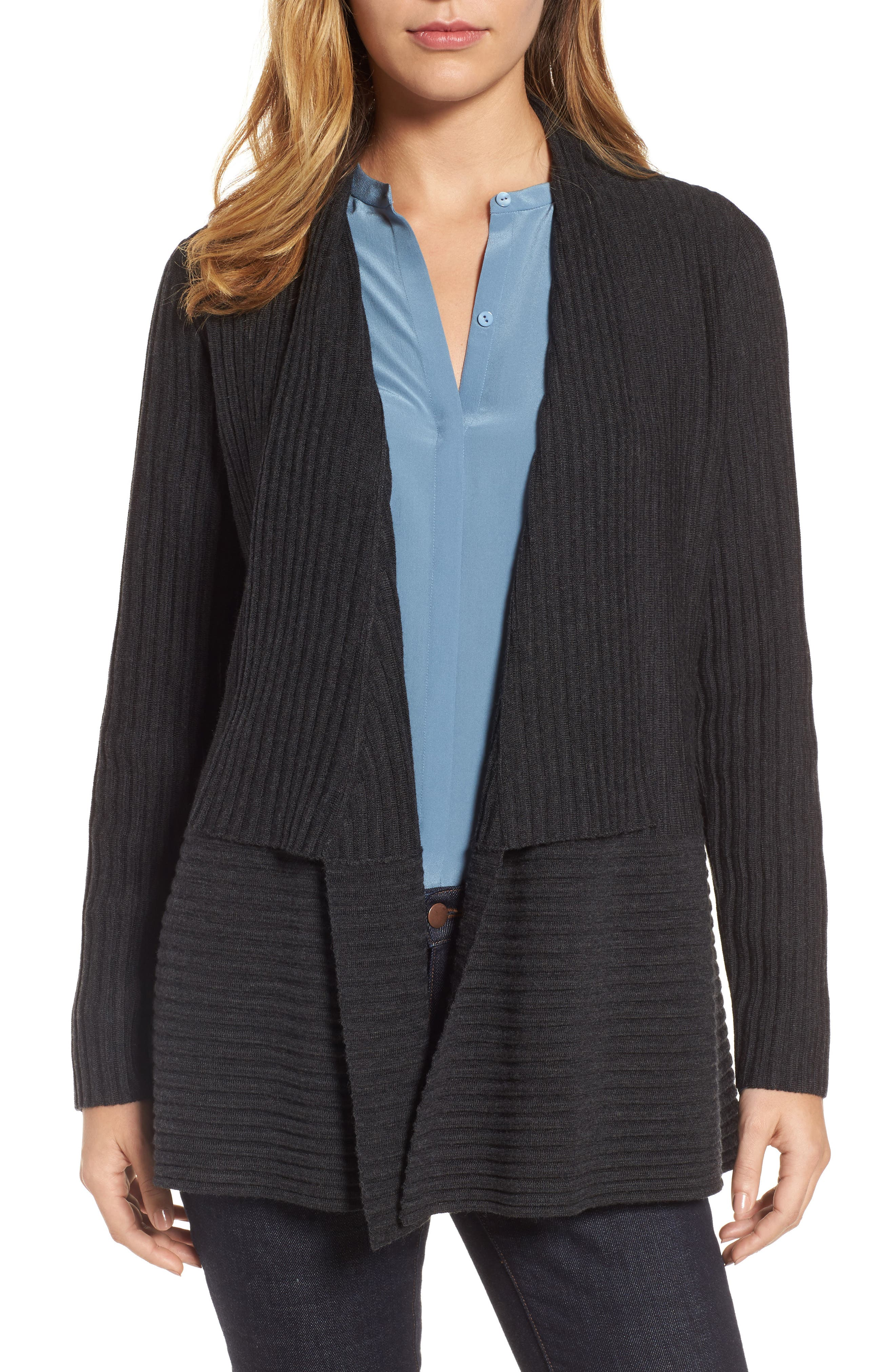 Alternate Image 1 Selected - Eileen Fisher Ribbed Merino Wool Long Cardigan