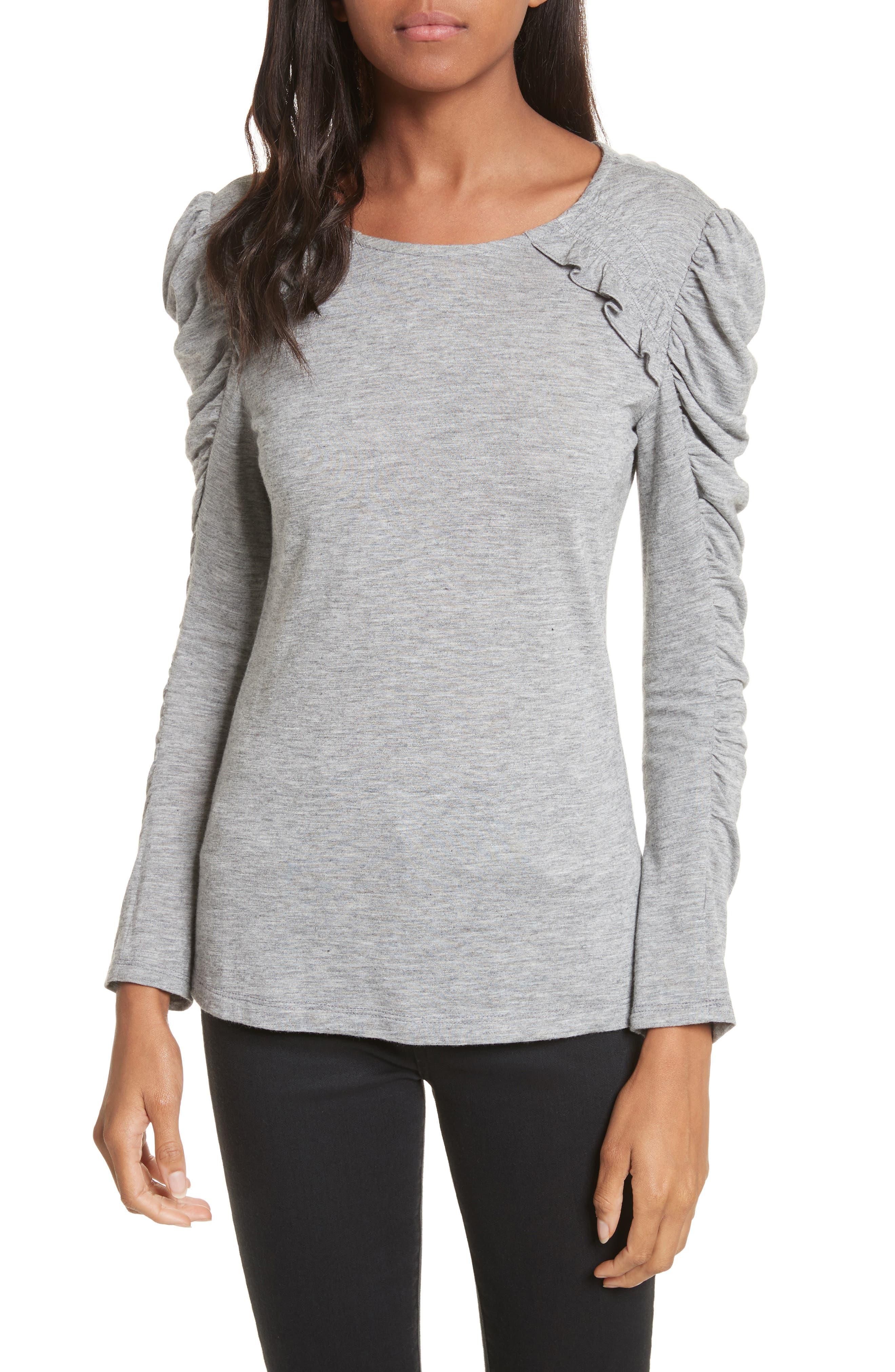 Ruffled Jersey Top,                         Main,                         color, Grey Melange