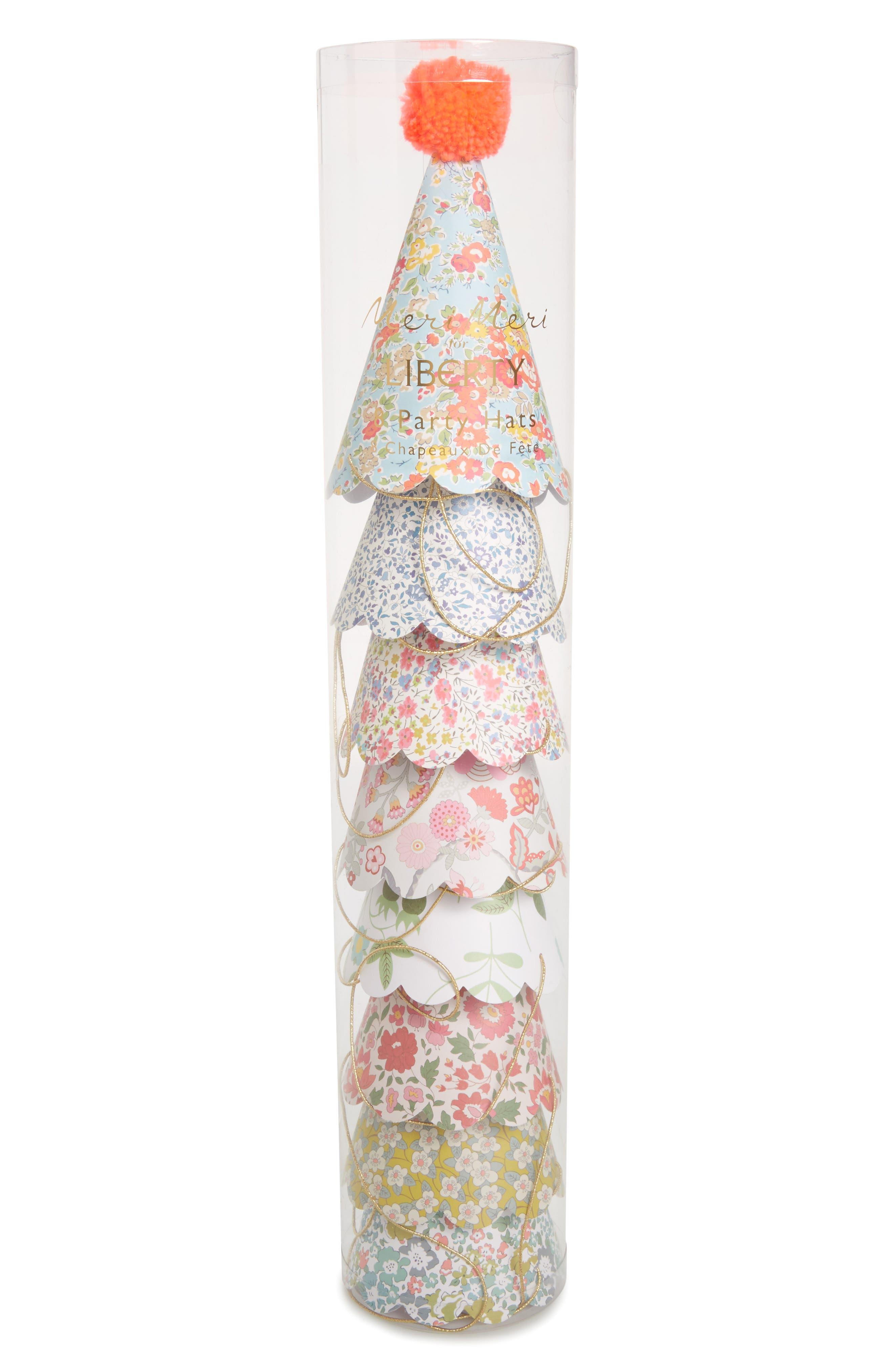 Meri Meri x Liberty Set of 8 Pompom Party Hats (Girls)