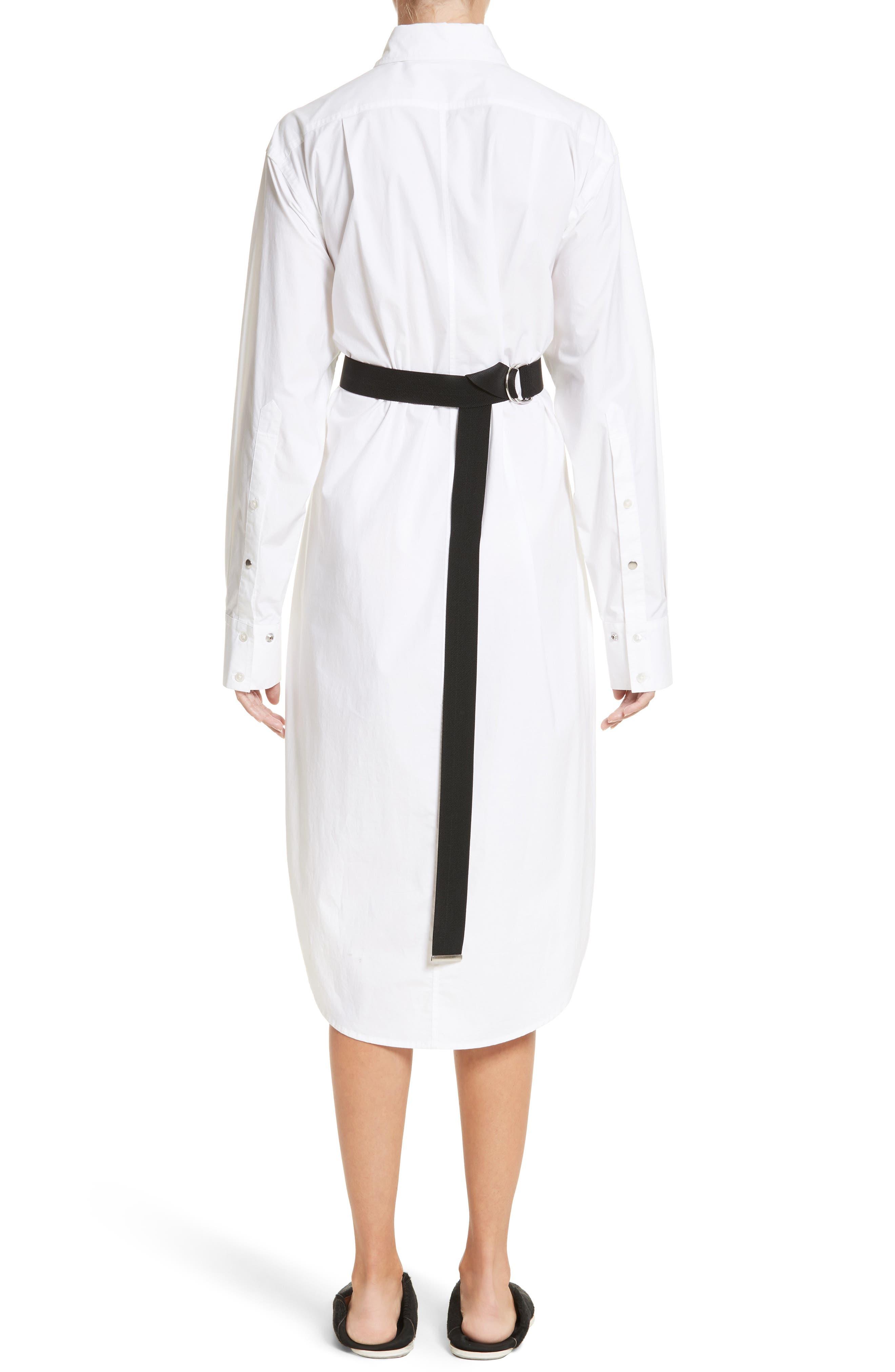 PSWL Belted Poplin Shirtdress,                             Alternate thumbnail 2, color,                             Optic White/ Black