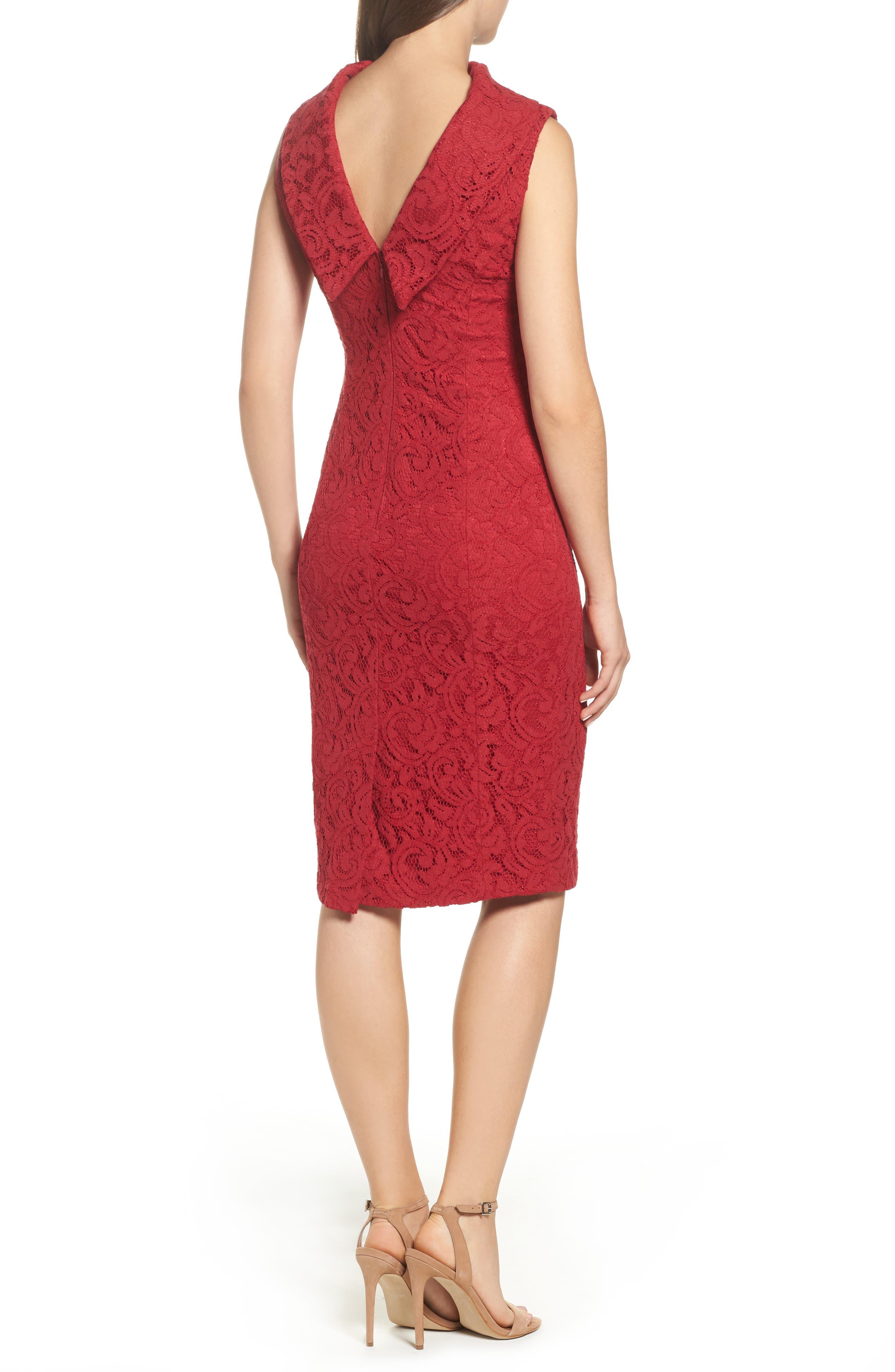Lace Sheath Dress,                             Alternate thumbnail 2, color,                             Cherry