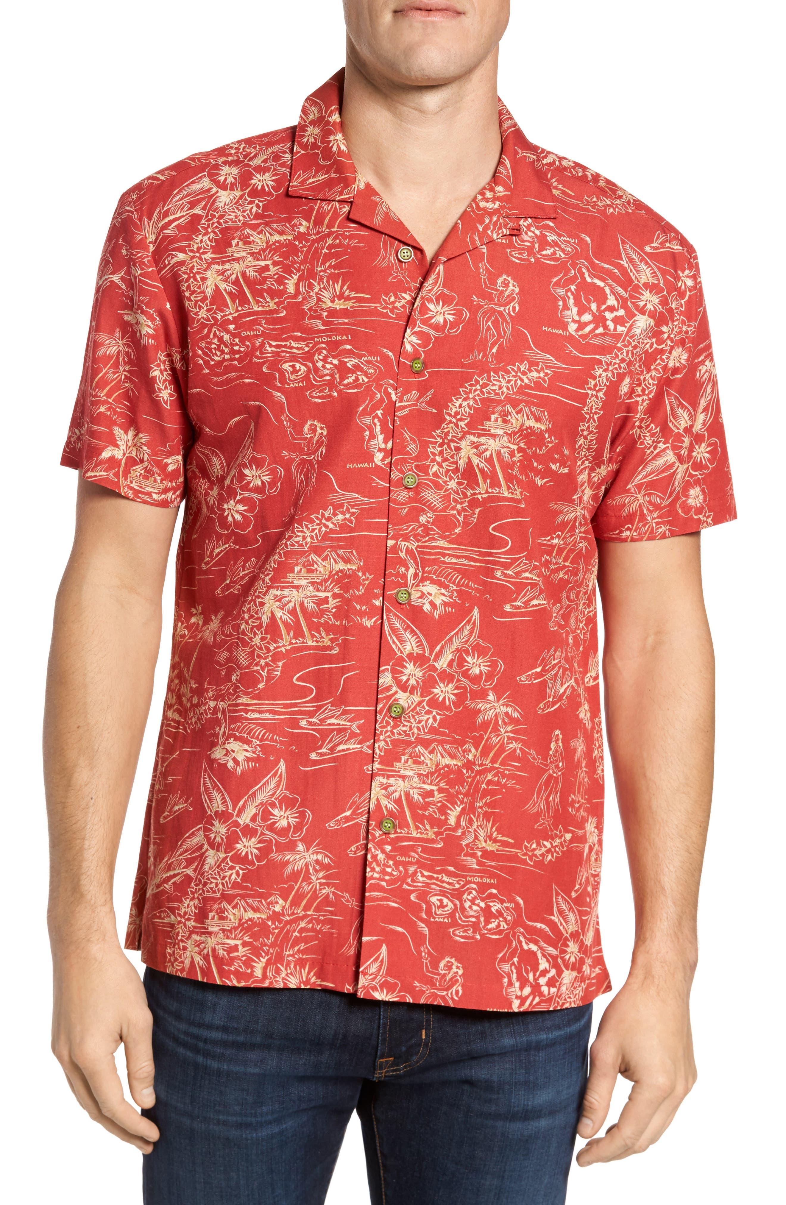 Konohiki Trim Fit Print Sport Shirt,                         Main,                         color, Red