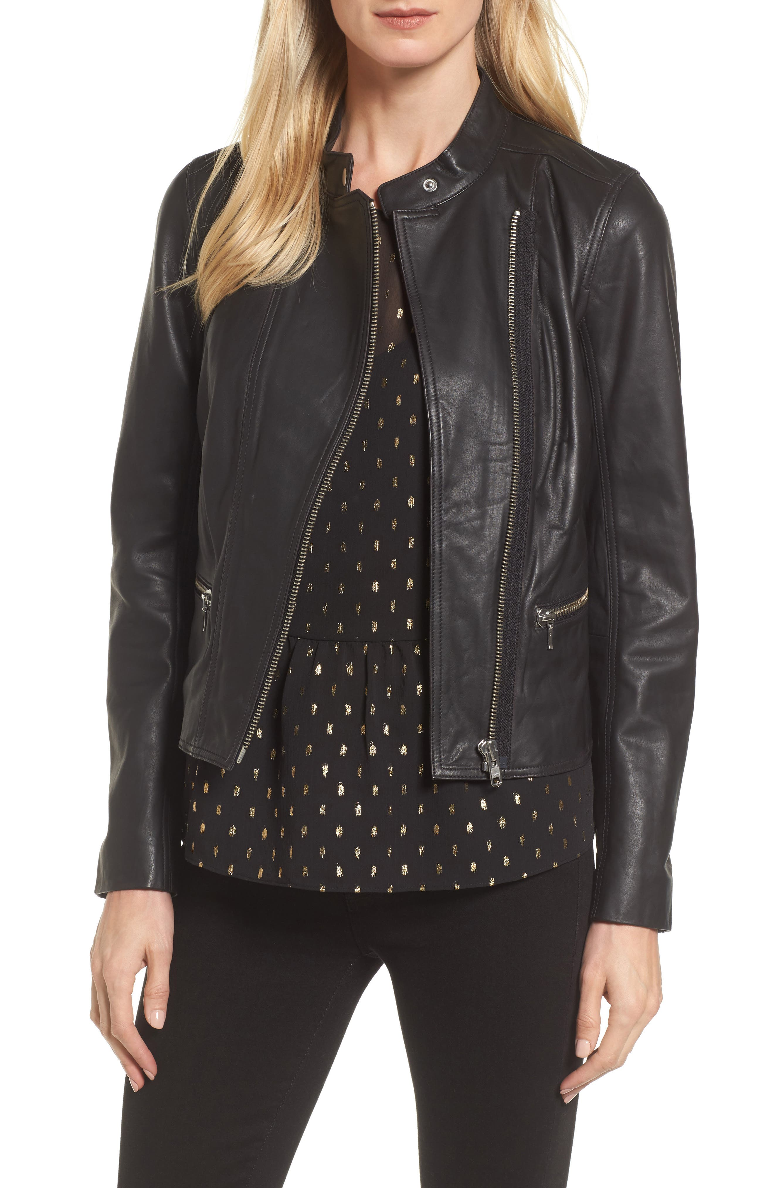 Halogen® Leather Moto Jacket (Regular & Petite)