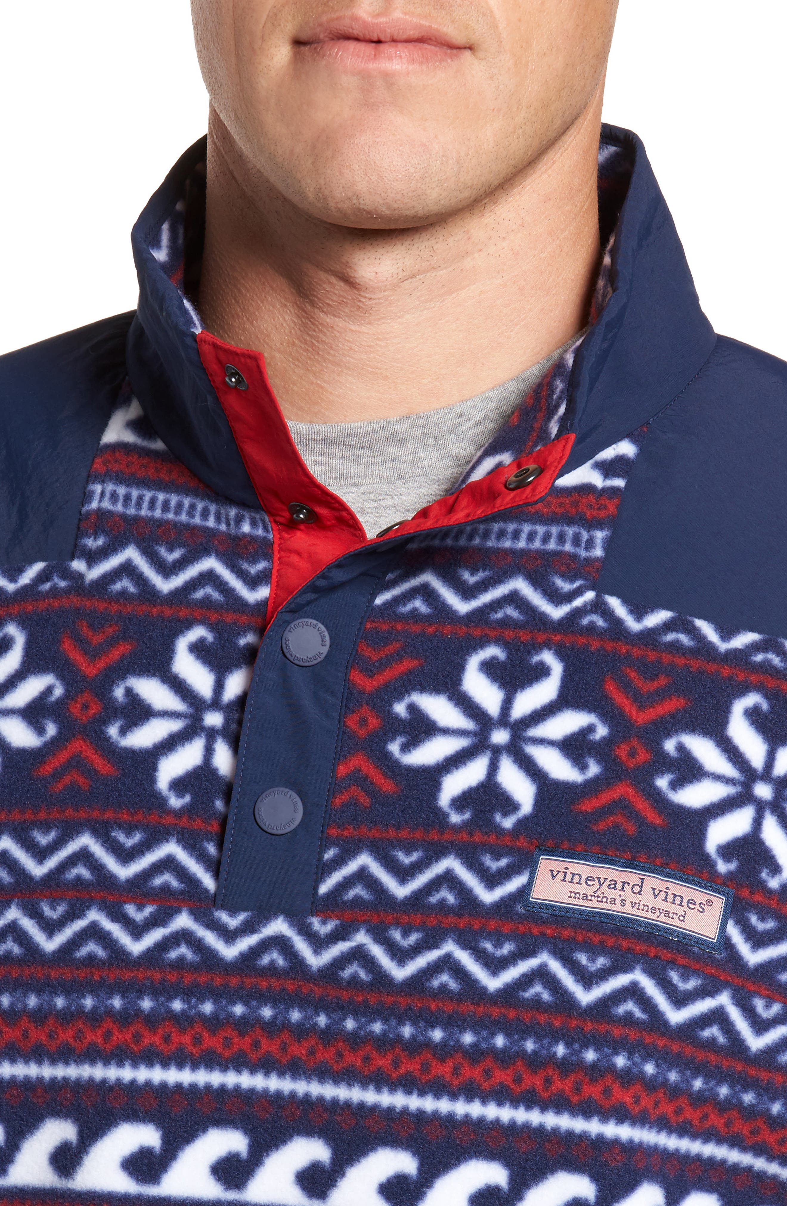 Fair Isle Quarter Snap Fleece Pullover,                             Alternate thumbnail 4, color,                             Multi