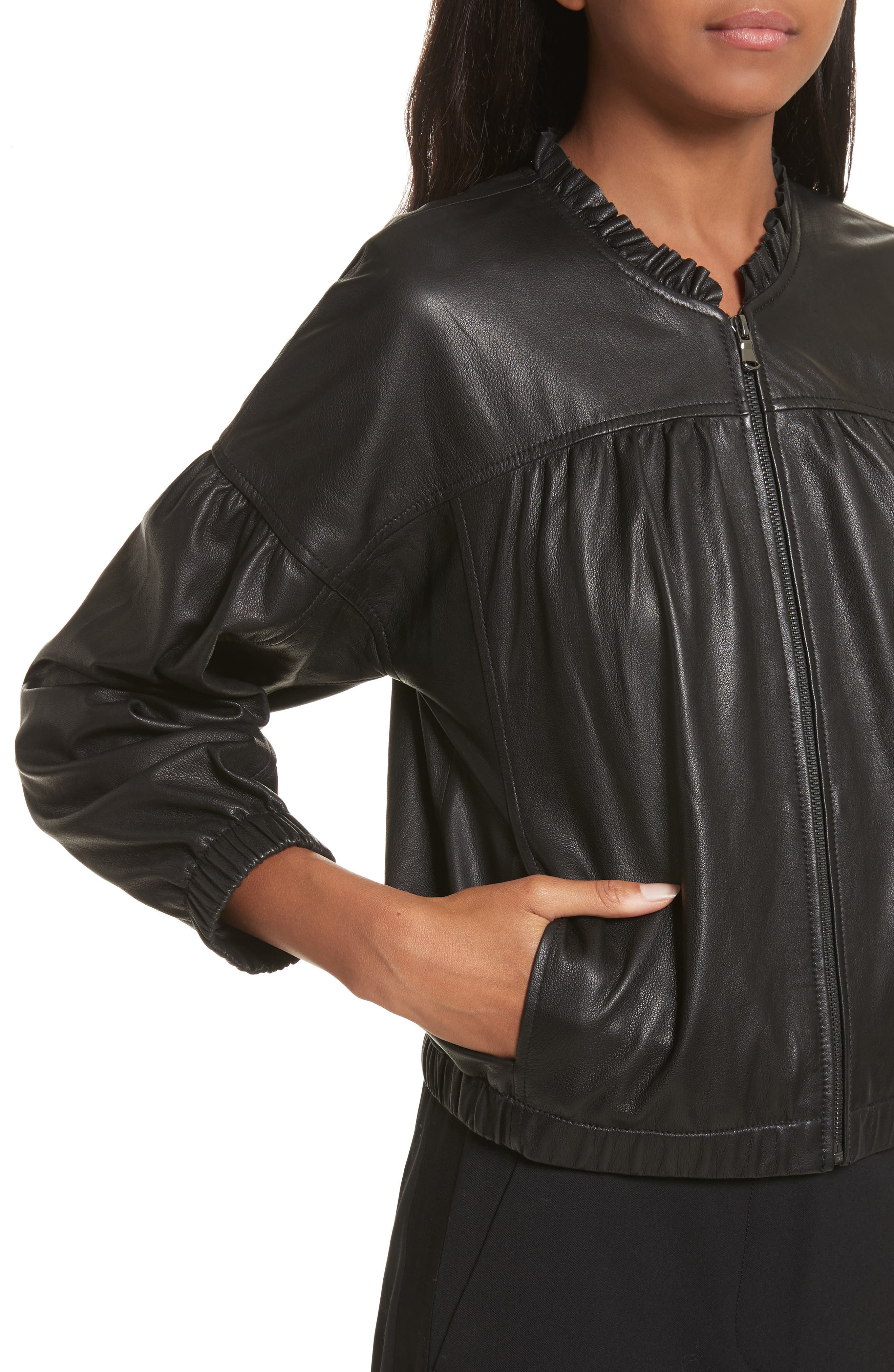 Leather Bomber Jacket,                             Alternate thumbnail 4, color,                             Black