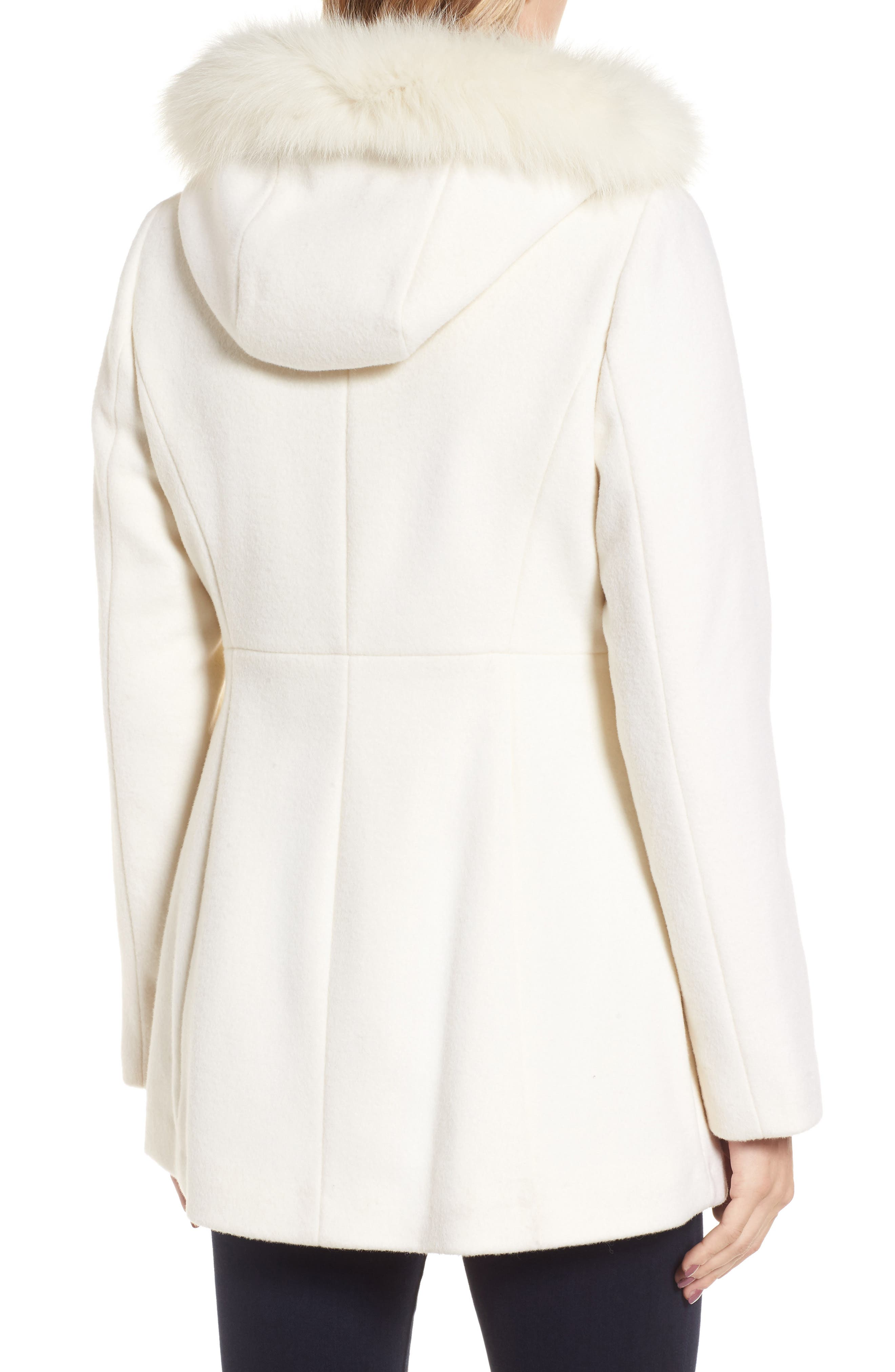 Genuine Fox Fur Trim Hooded Wool Blend Coat,                             Alternate thumbnail 2, color,                             Ivory