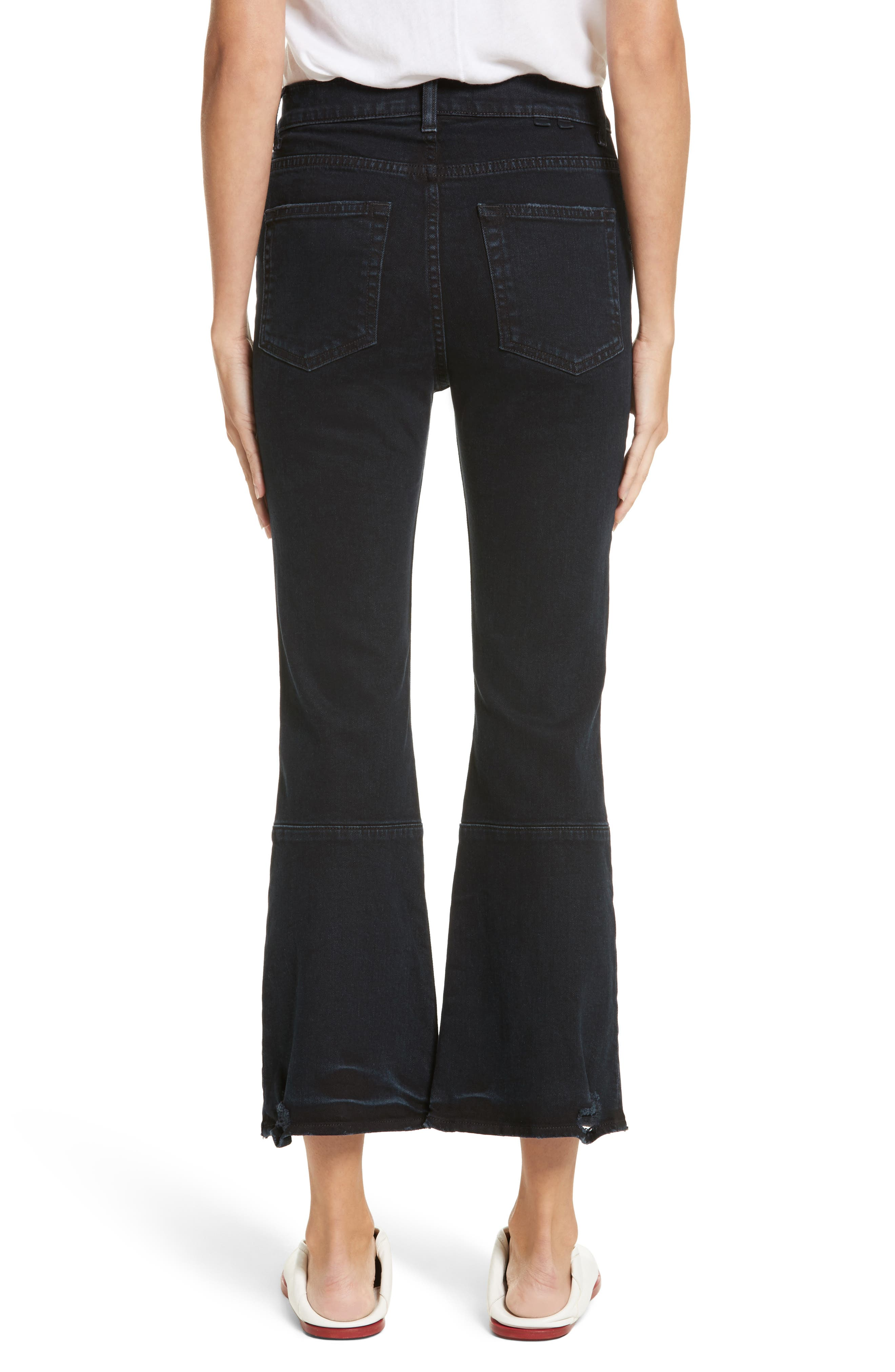 PSWL Crop Kick Flare Jeans,                             Alternate thumbnail 2, color,                             Stone Washed Black