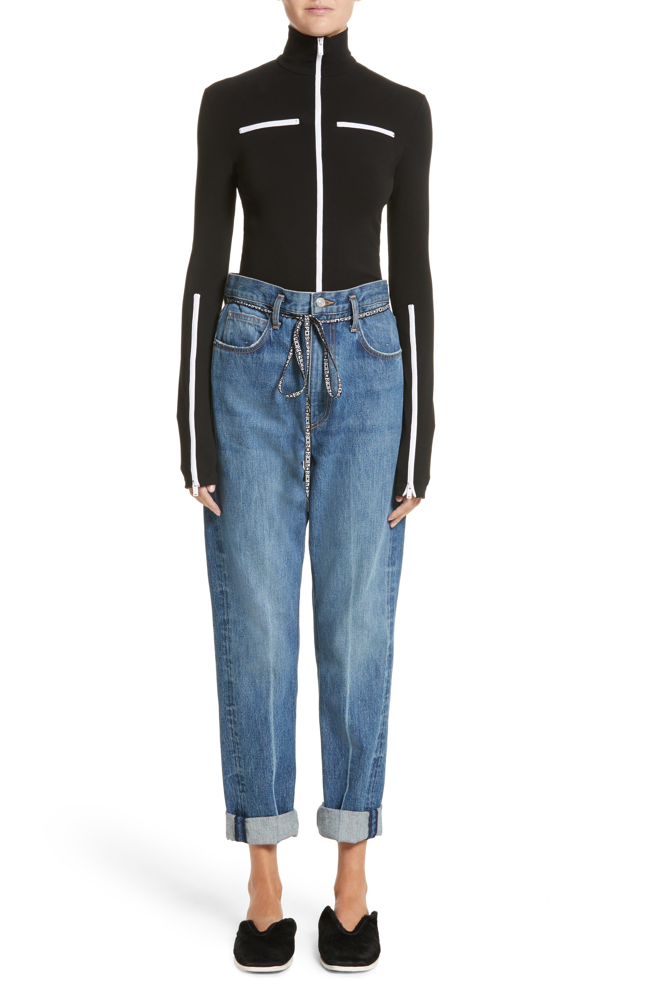 PSWL Cuffed Straight Leg Jeans,                             Alternate thumbnail 10, color,                             Medium Blue