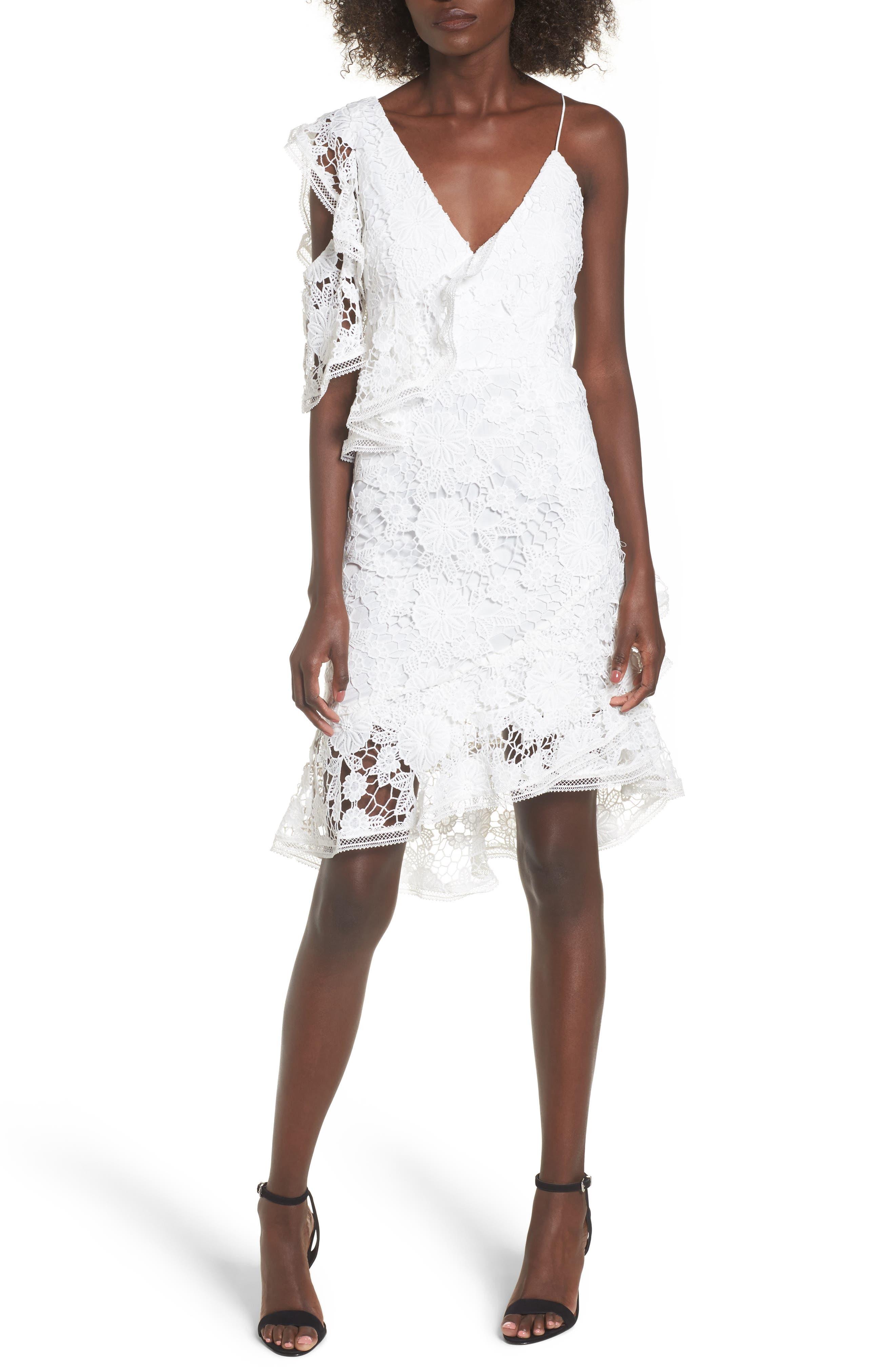Frameless Lace Sheath Dress,                             Main thumbnail 1, color,                             Ivory