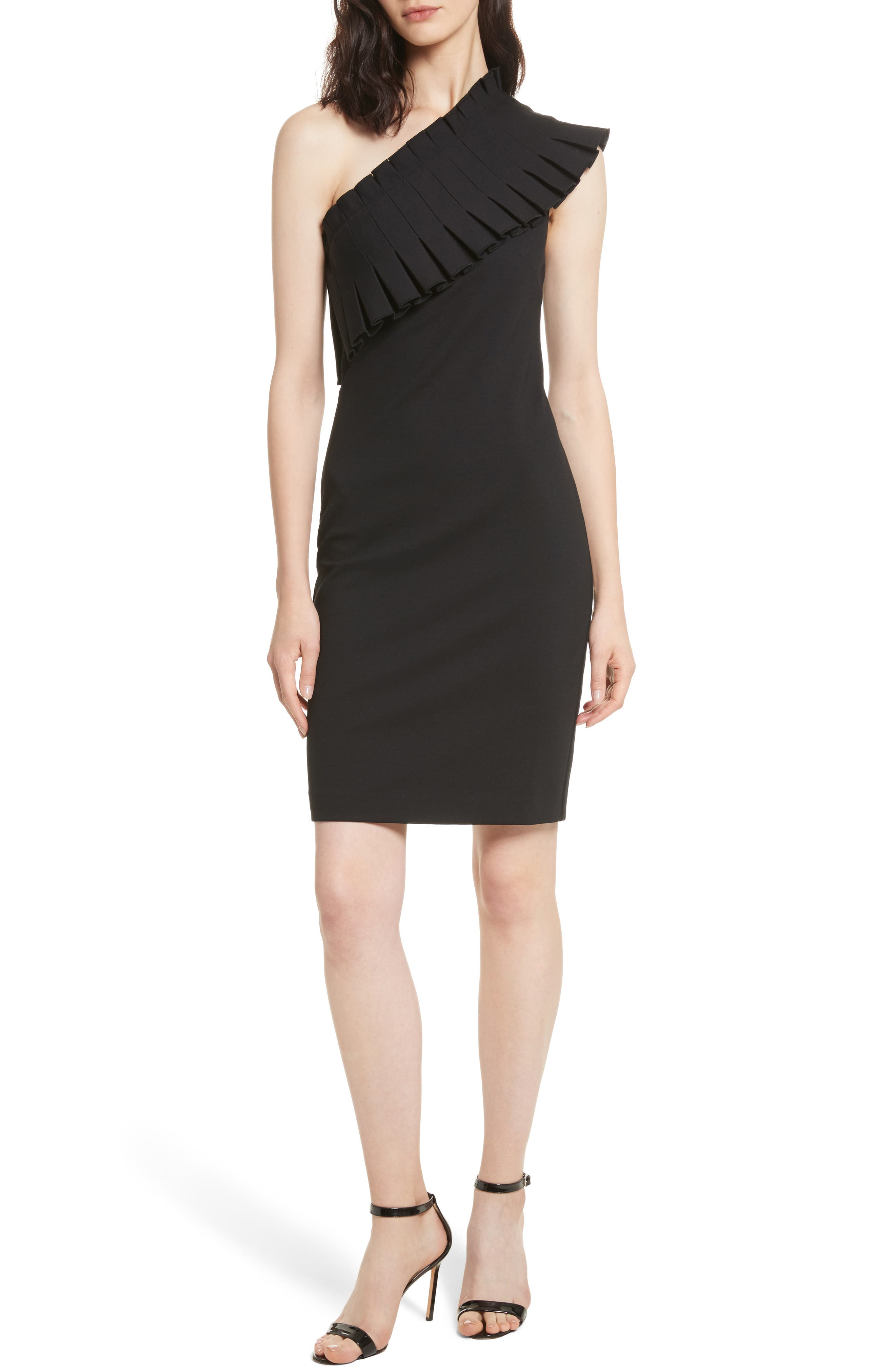 Ted Baker London Pleated Lace One-Shoulder Dress