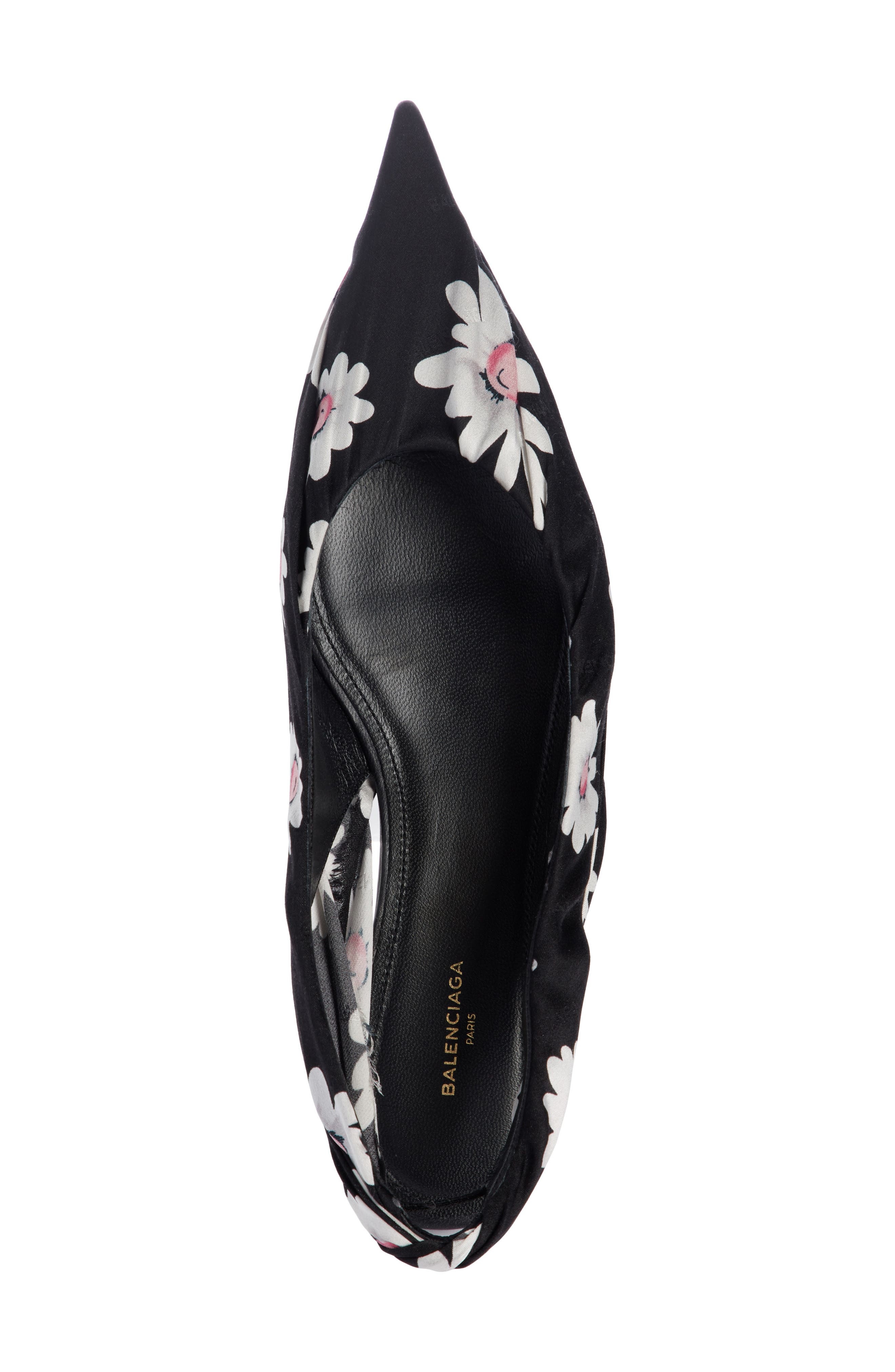 Pointy Toe Slingback Flat,                             Alternate thumbnail 4, color,                             Black/ White
