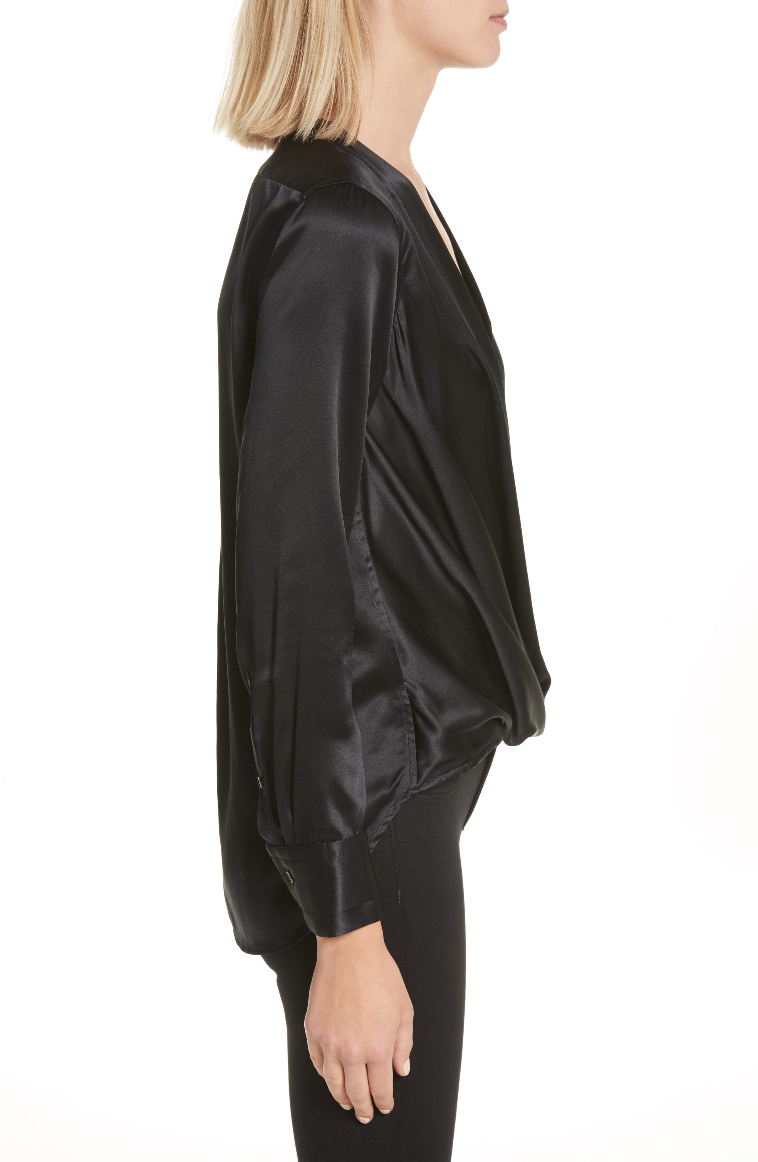 Victor Silk & Velvet Blouse,                             Alternate thumbnail 3, color,                             Black