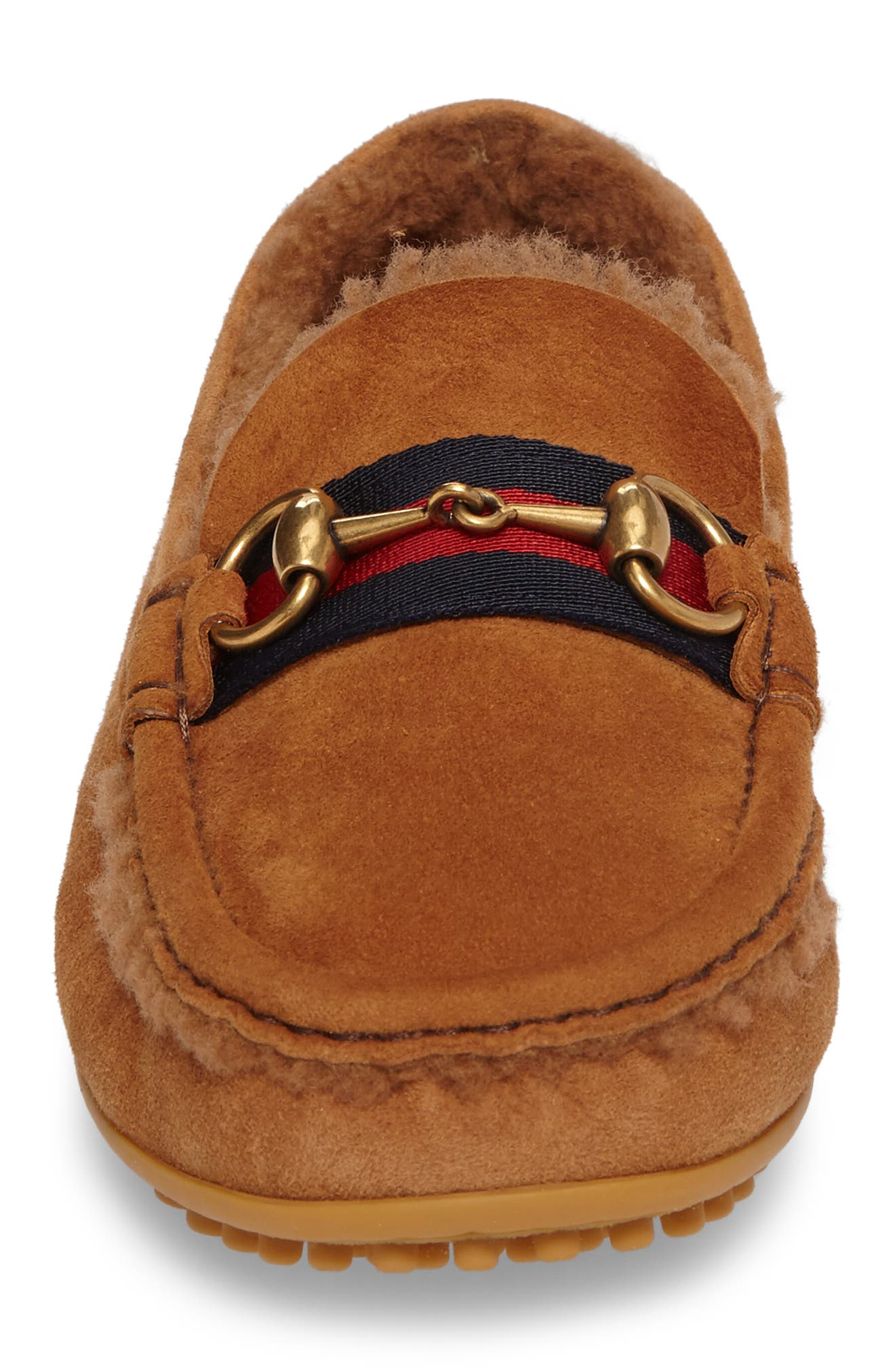 Driving Shoe with Genuine Shearling,                             Alternate thumbnail 4, color,                             Dark Tan