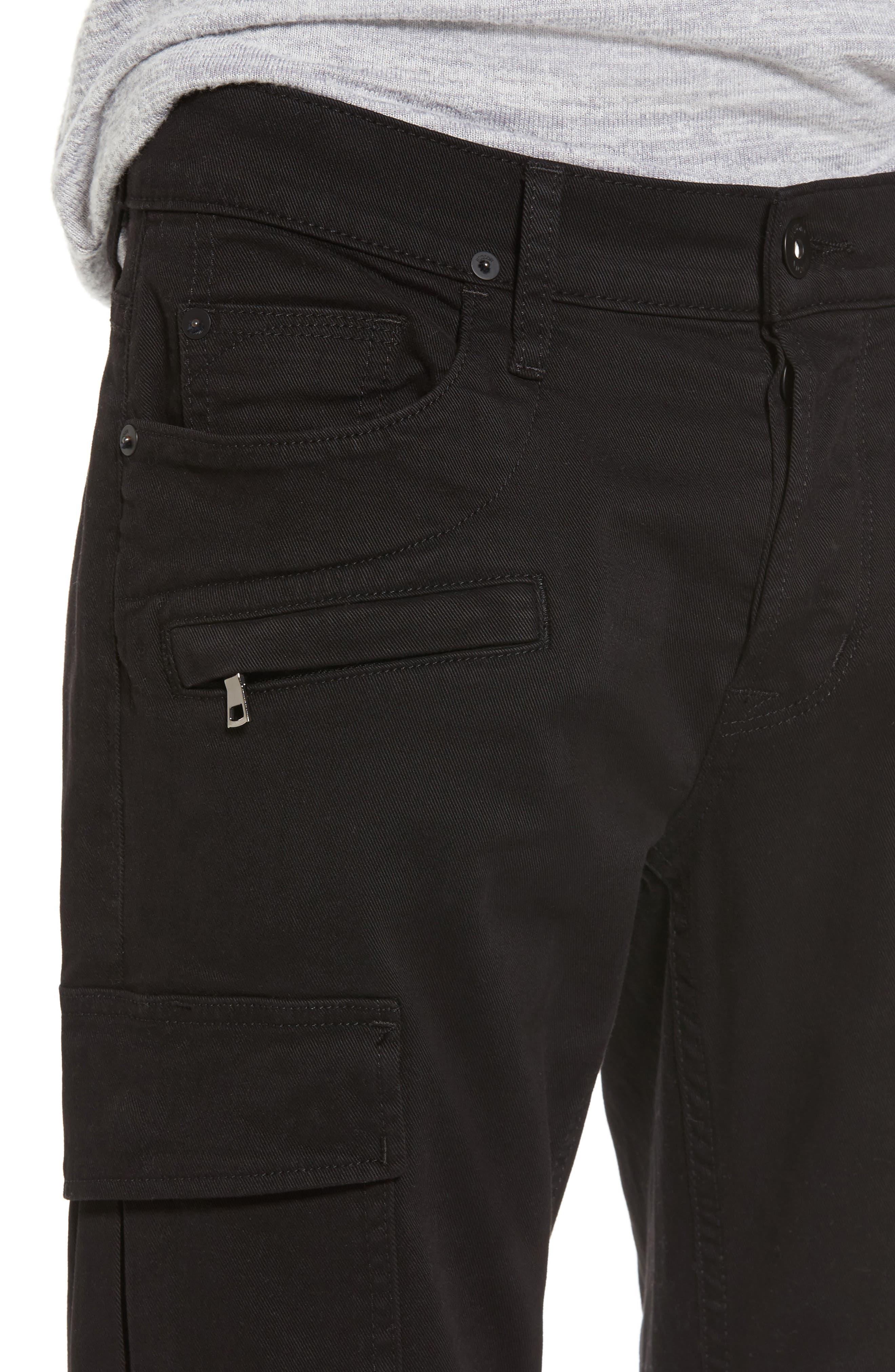 Alternate Image 4  - Hudson Jeans Greyson Cargo Biker Skinny Fit Jeans (Black)