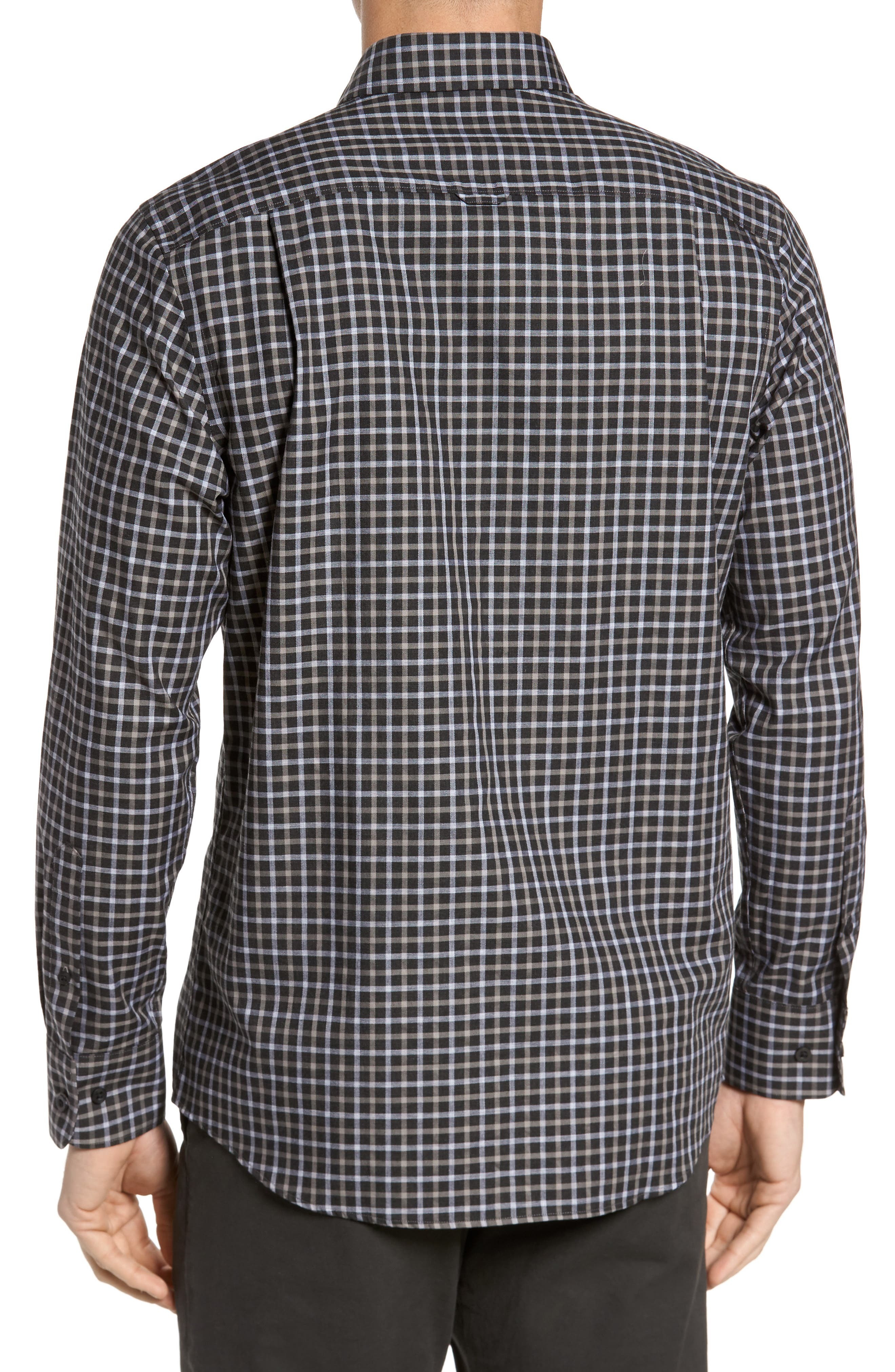 Regular Fit Non-Iron Check Sport Shirt,                             Alternate thumbnail 2, color,                             Black Caviar Grey Check