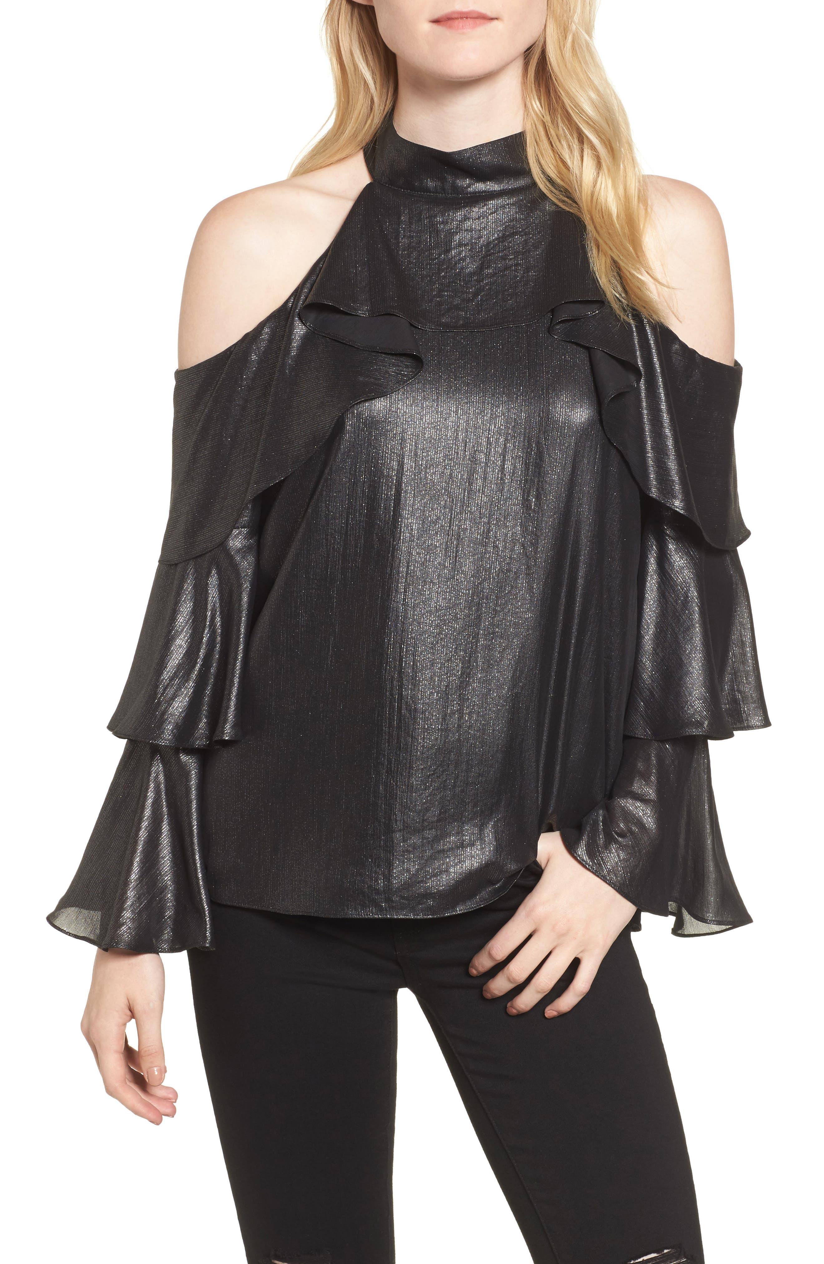 Kris Cold Shoulder Silk Blouse,                         Main,                         color, Black