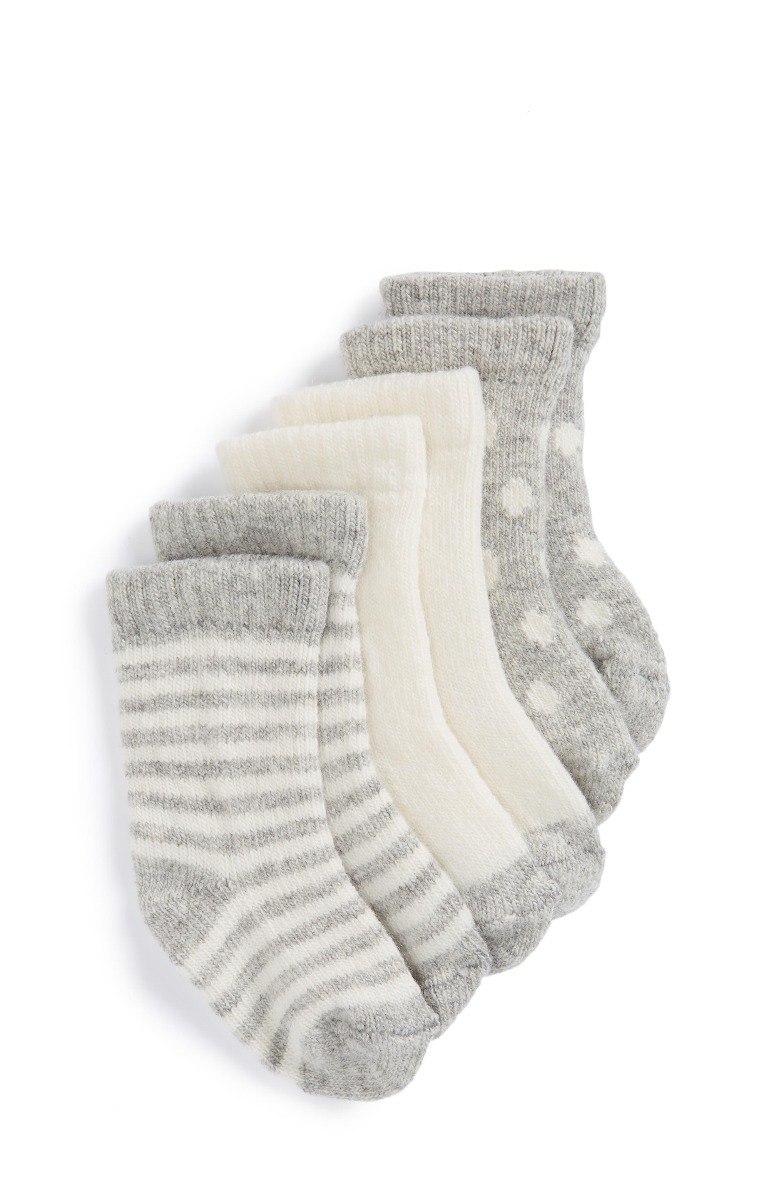 Tucker + Tate Assorted 3-Pack Wool & Cashmere Socks (Baby)