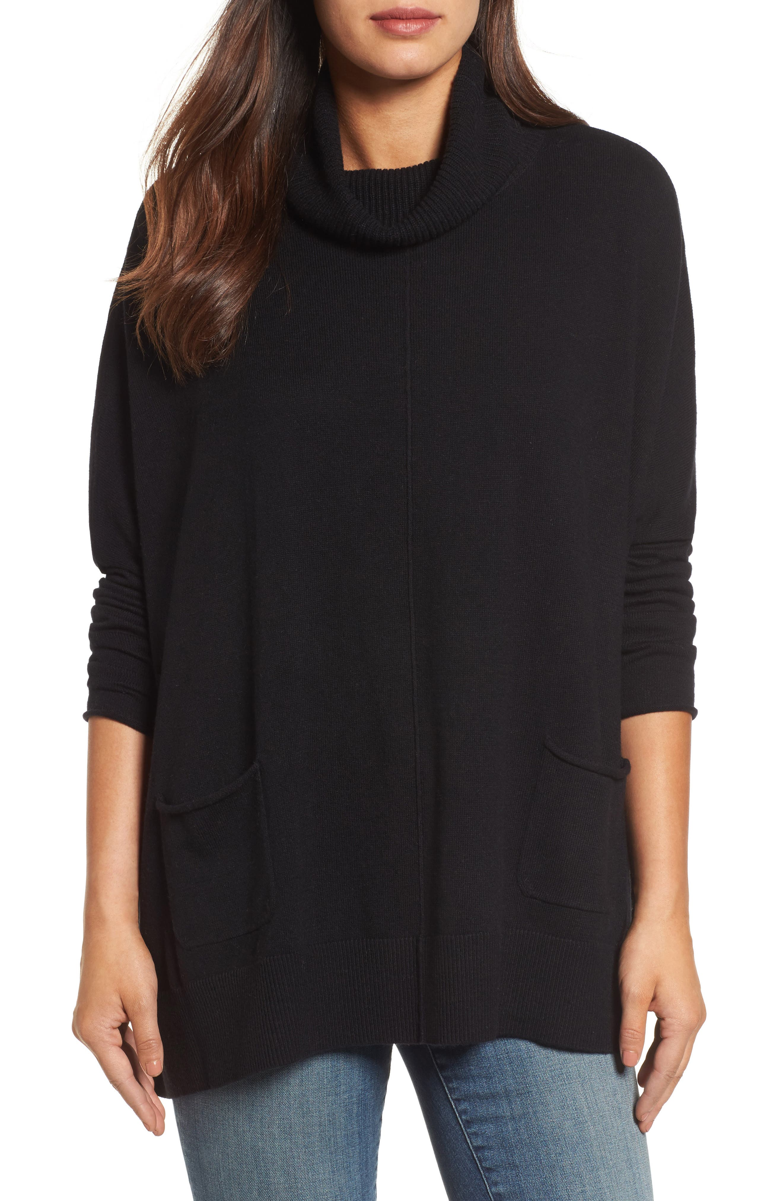 Caslon® Turtleneck Poncho Sweater (Regular & Petite)
