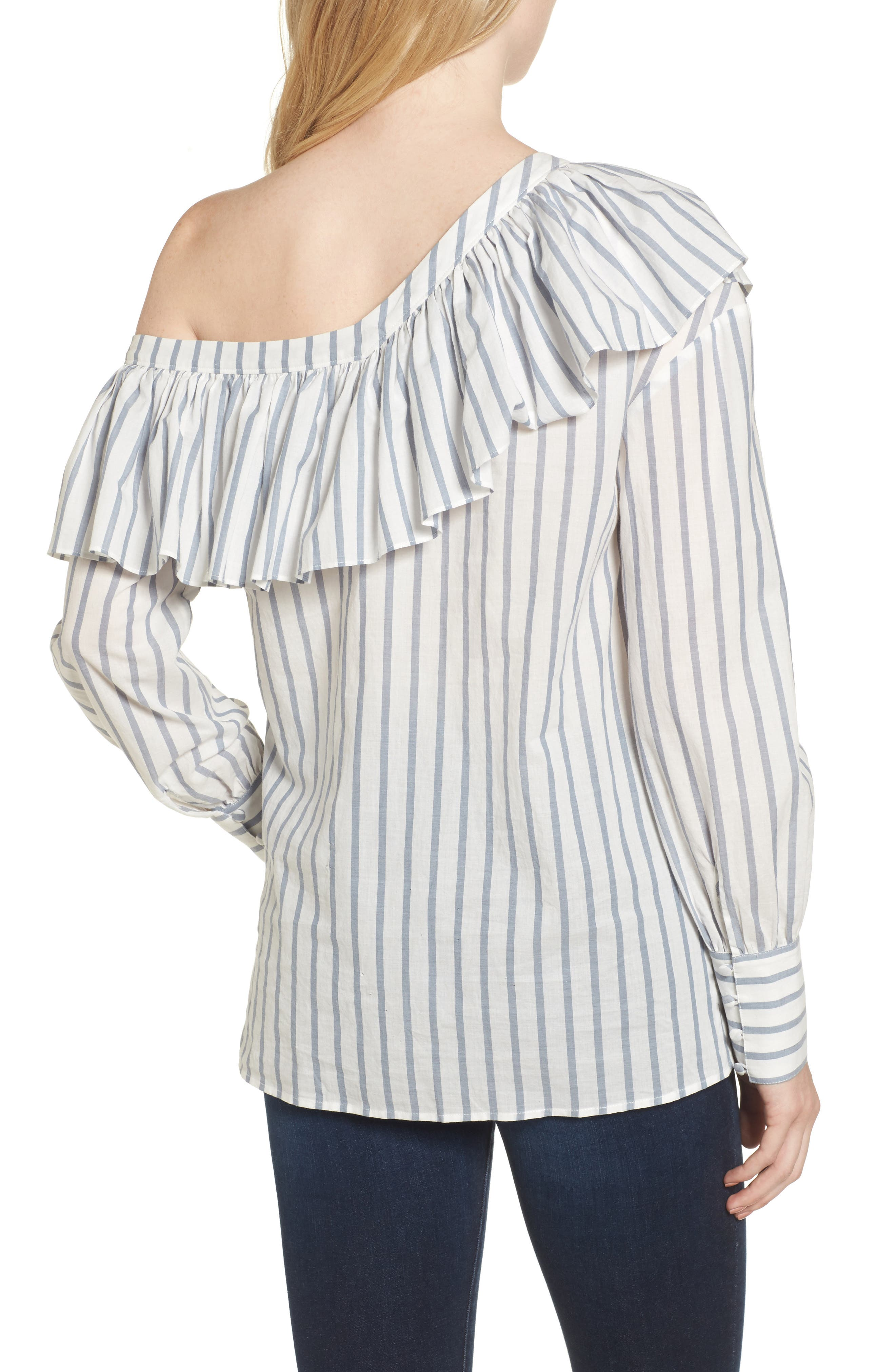 Halsey One-Shoulder Blouse,                             Alternate thumbnail 3, color,                             Papyrus / China Blue