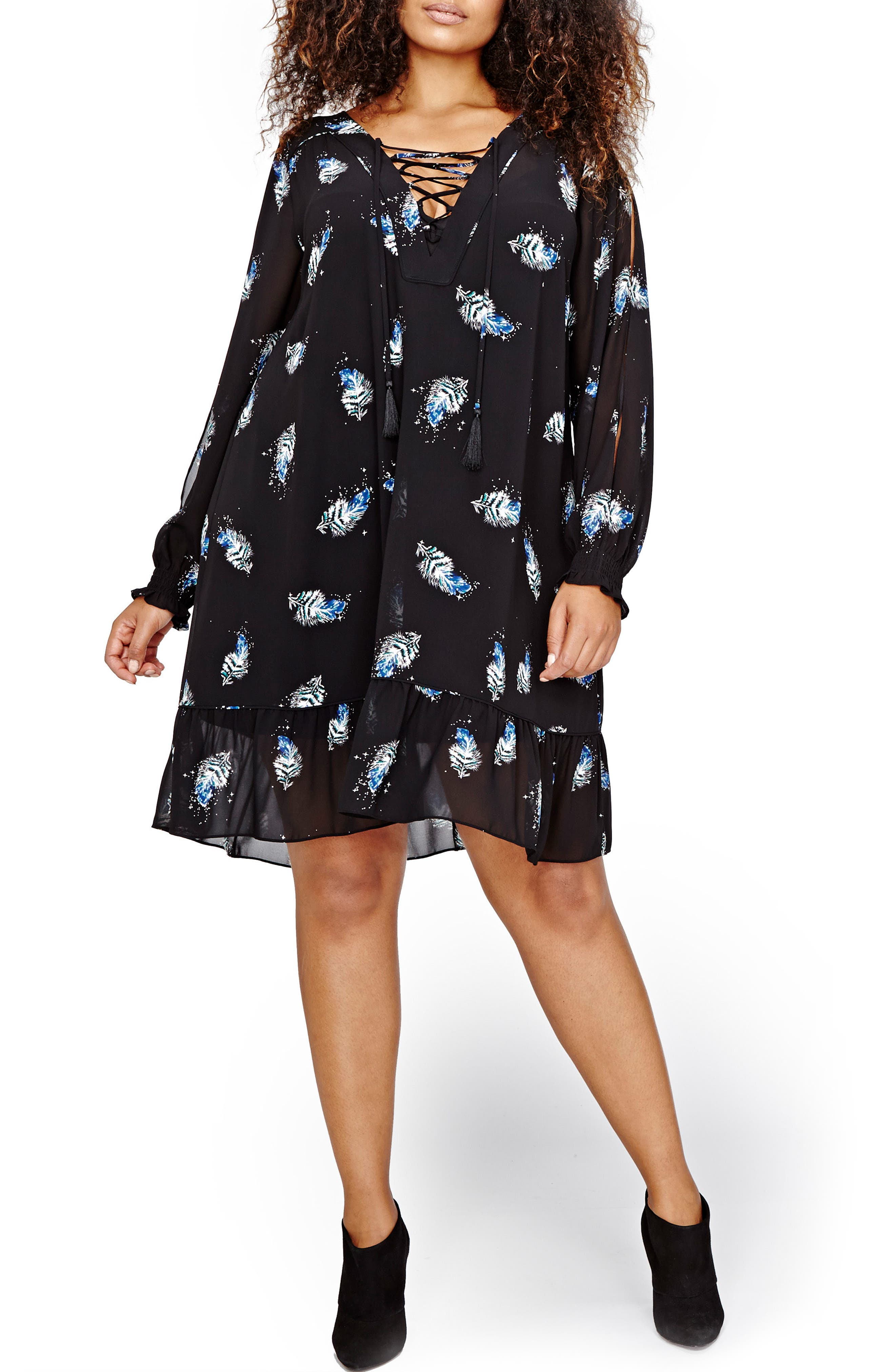 Lace-Up Print Dress,                         Main,                         color, Black All Over Print