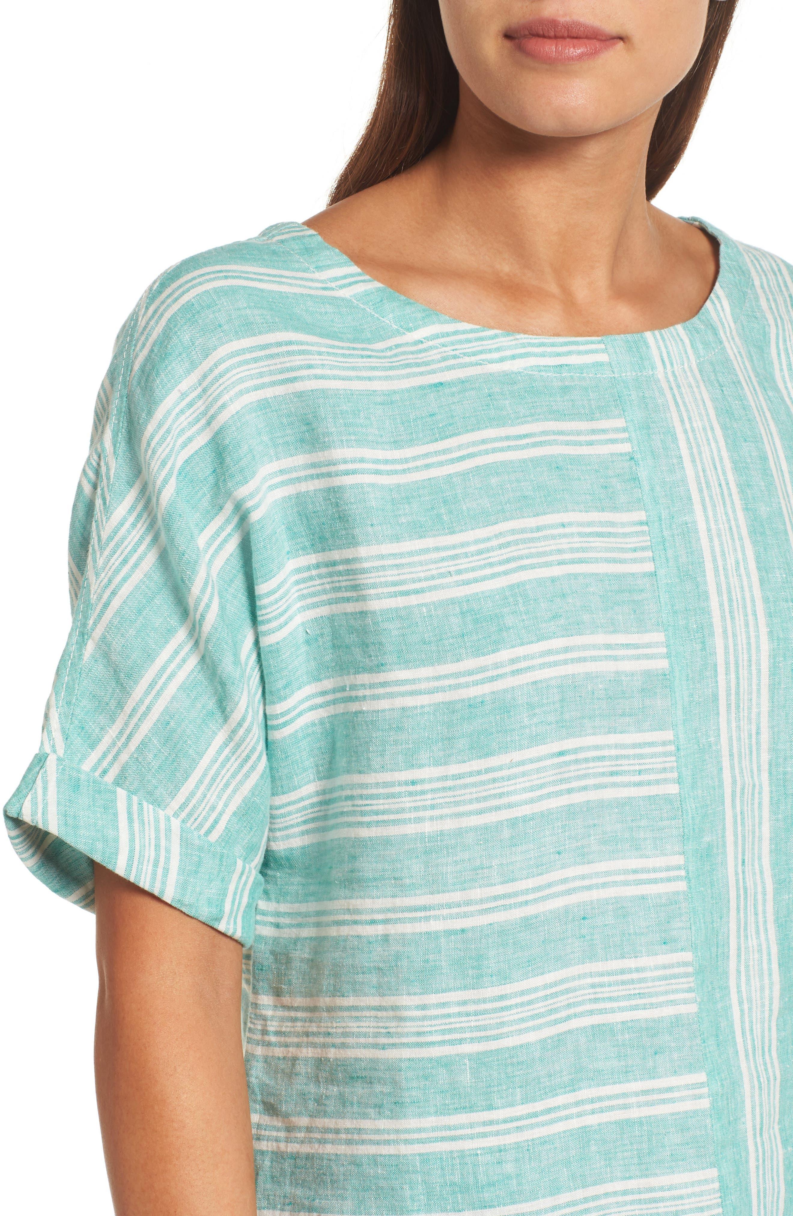 V-Back Linen Top,                             Alternate thumbnail 4, color,                             Green- Ivory Stripe