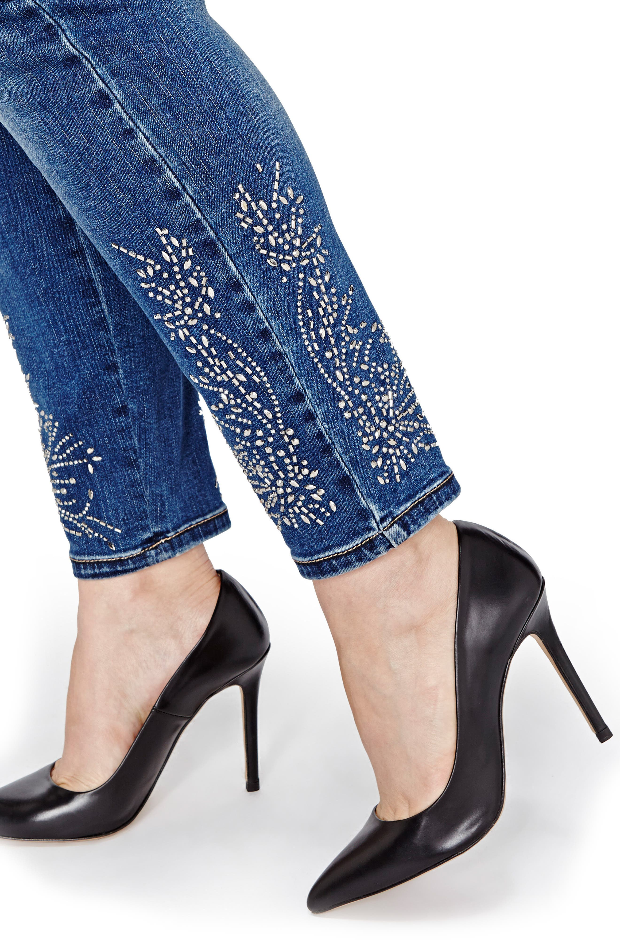 Addition Elle Love & Legend Embellished Hem Skinny Jeans,                             Alternate thumbnail 3, color,                             Medium Wash Denim
