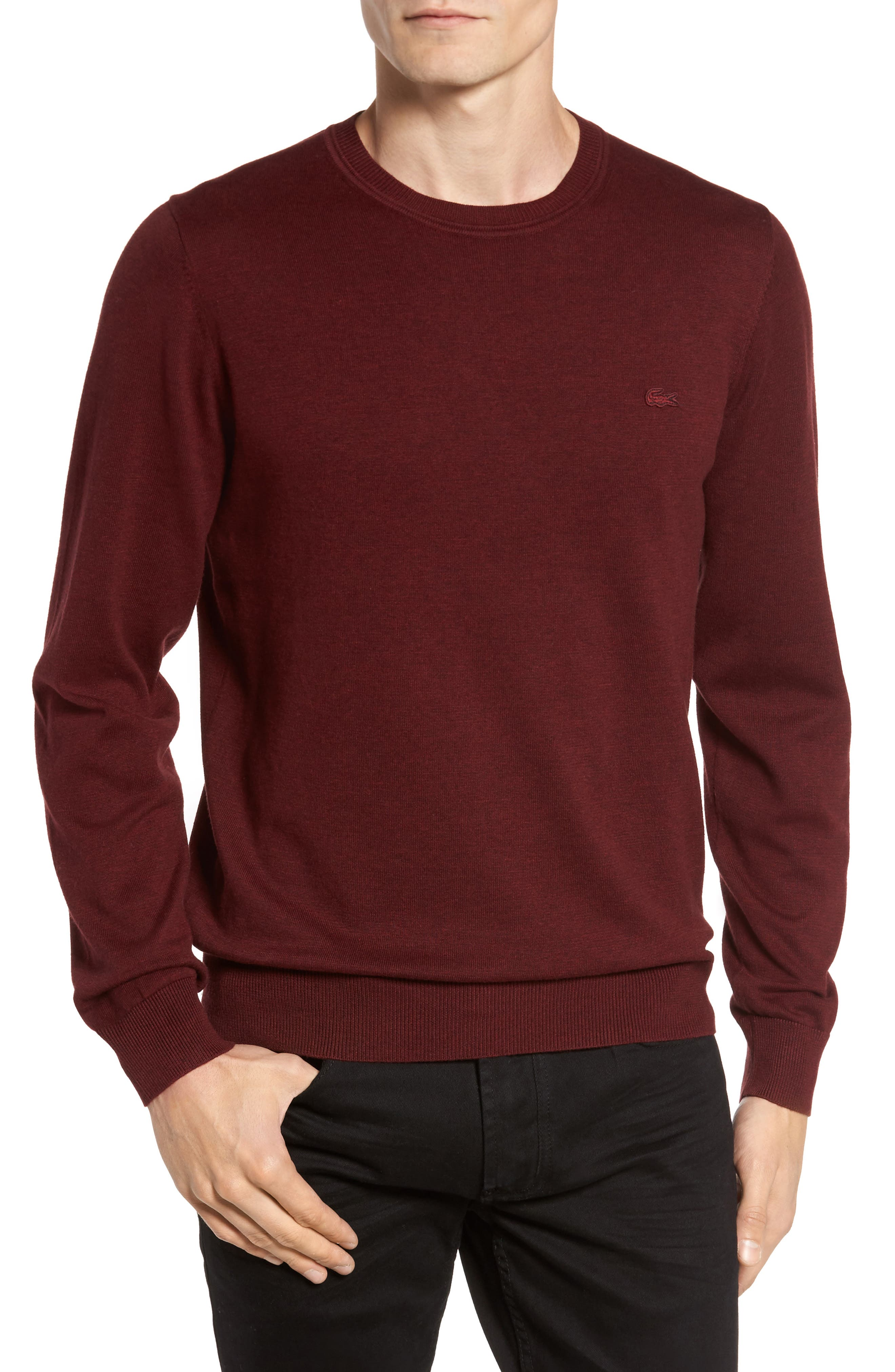 Jersey Knit Crewneck Sweater,                         Main,                         color, Red Basque