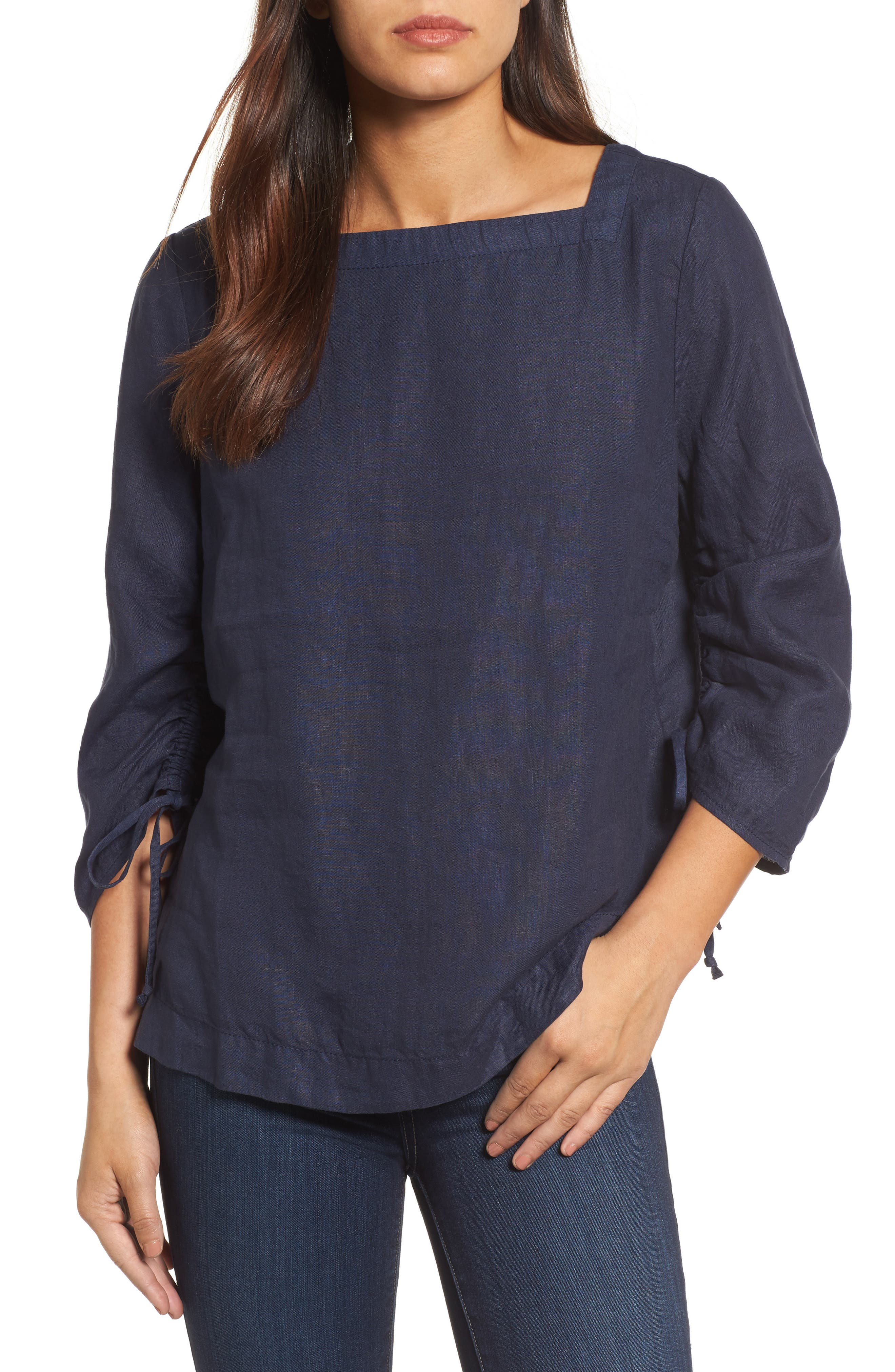 Ruched Sleeve Linen Pullover,                             Main thumbnail 1, color,                             Navy Peacoat