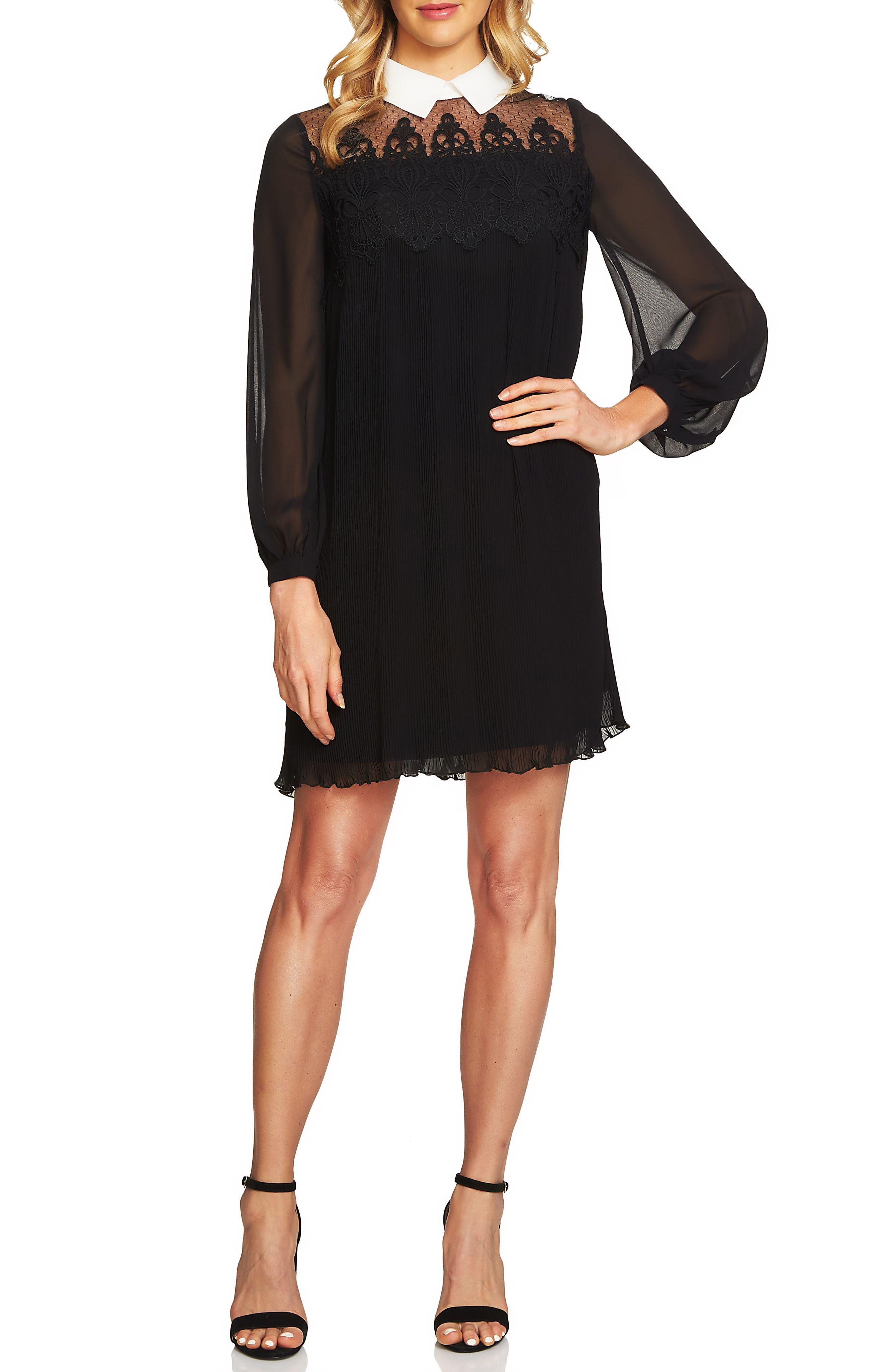 Sheer Yoke Knife Pleat Shift Dress,                         Main,                         color, Rich Black