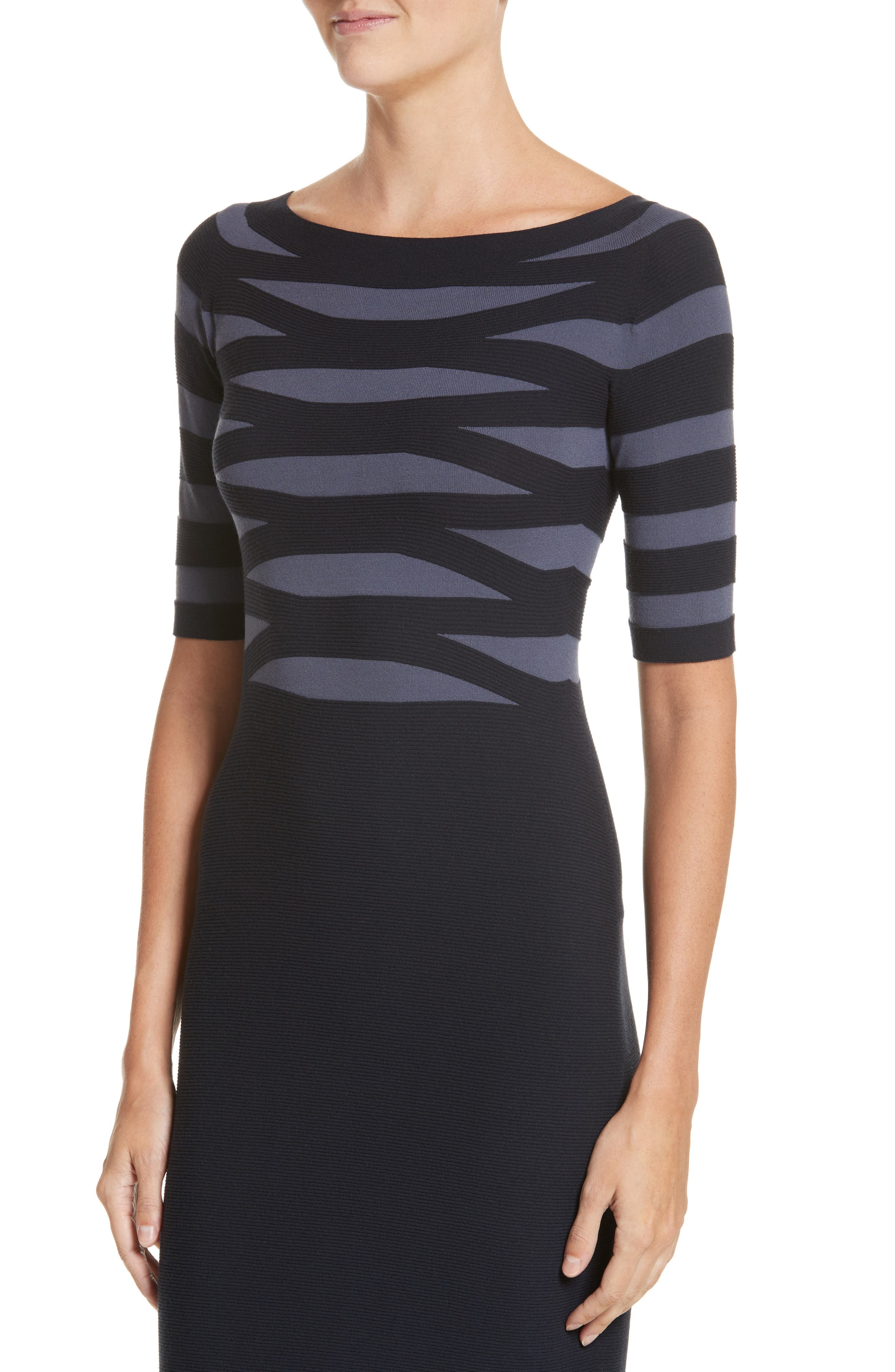 Graphic Stripe Knit Dress,                             Alternate thumbnail 4, color,                             Indigo Night